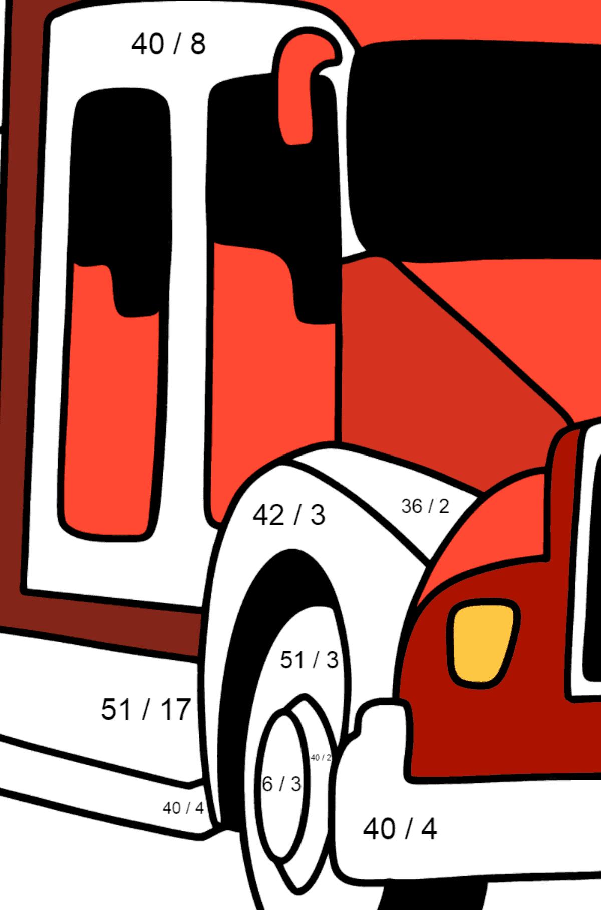 Раскраска Пожарная машина в США - Математическая Раскраска - Деление для Детей