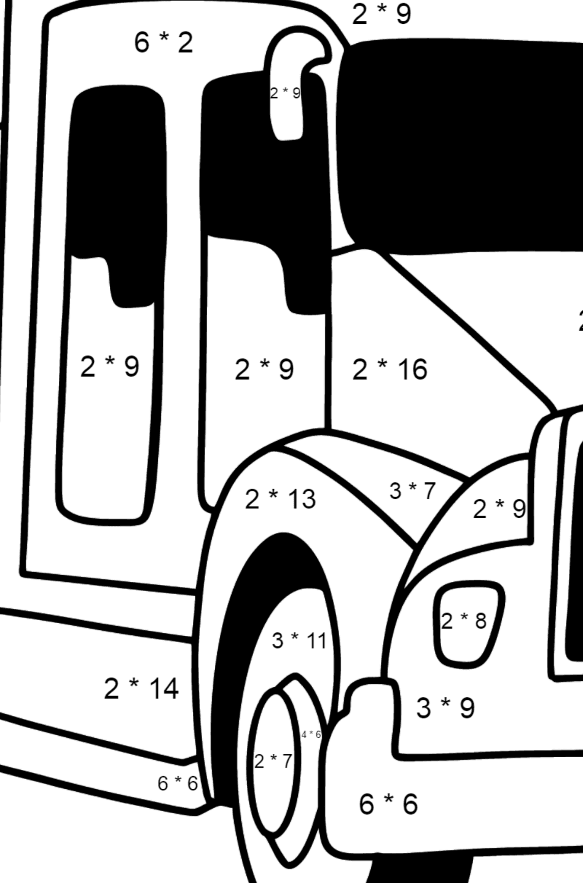 USA Fire Truck coloring page - Math Coloring - Multiplication for Kids