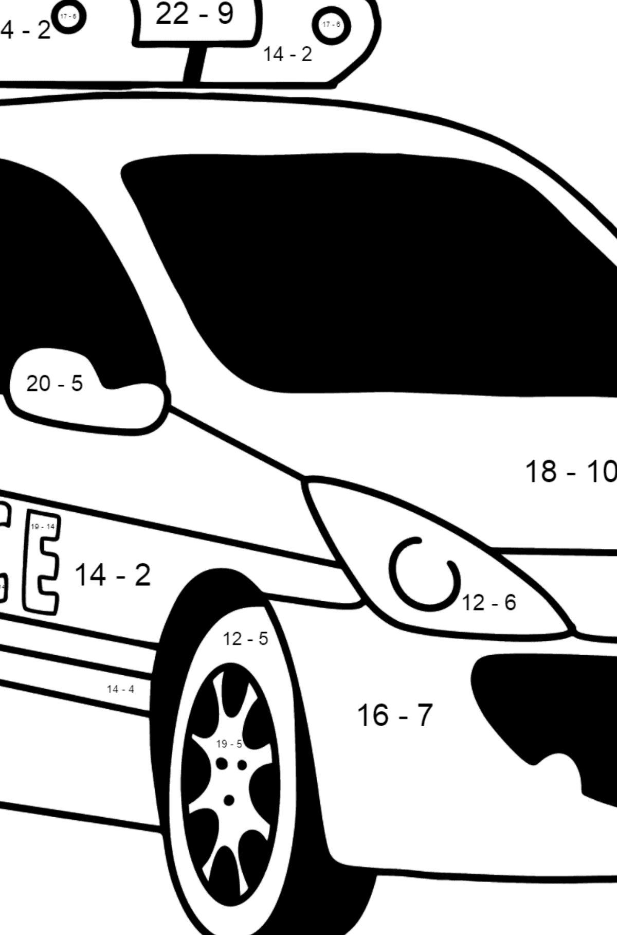 Police Car in France coloring page - Math Coloring - Subtraction for Kids