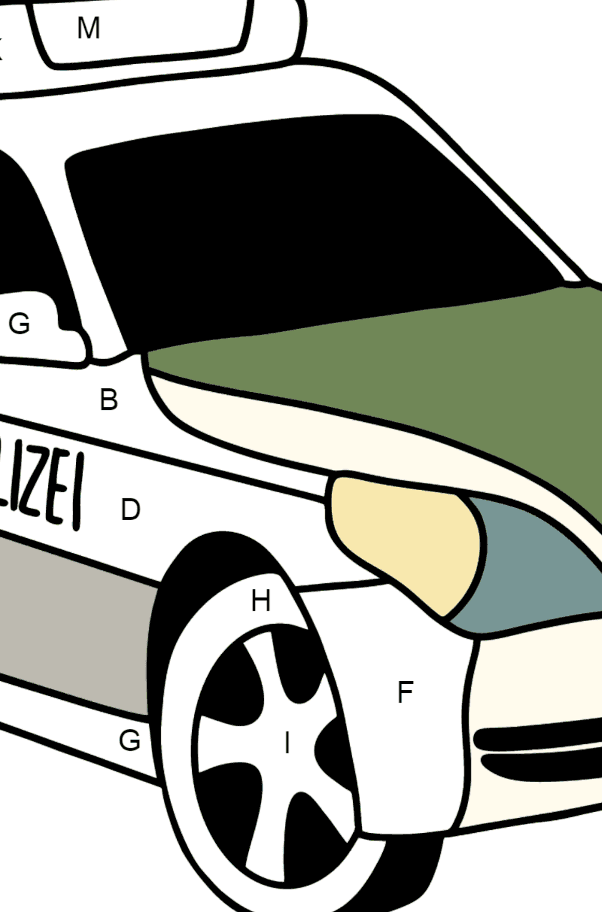Police Car in Germany coloring page - Coloring by Letters for Kids