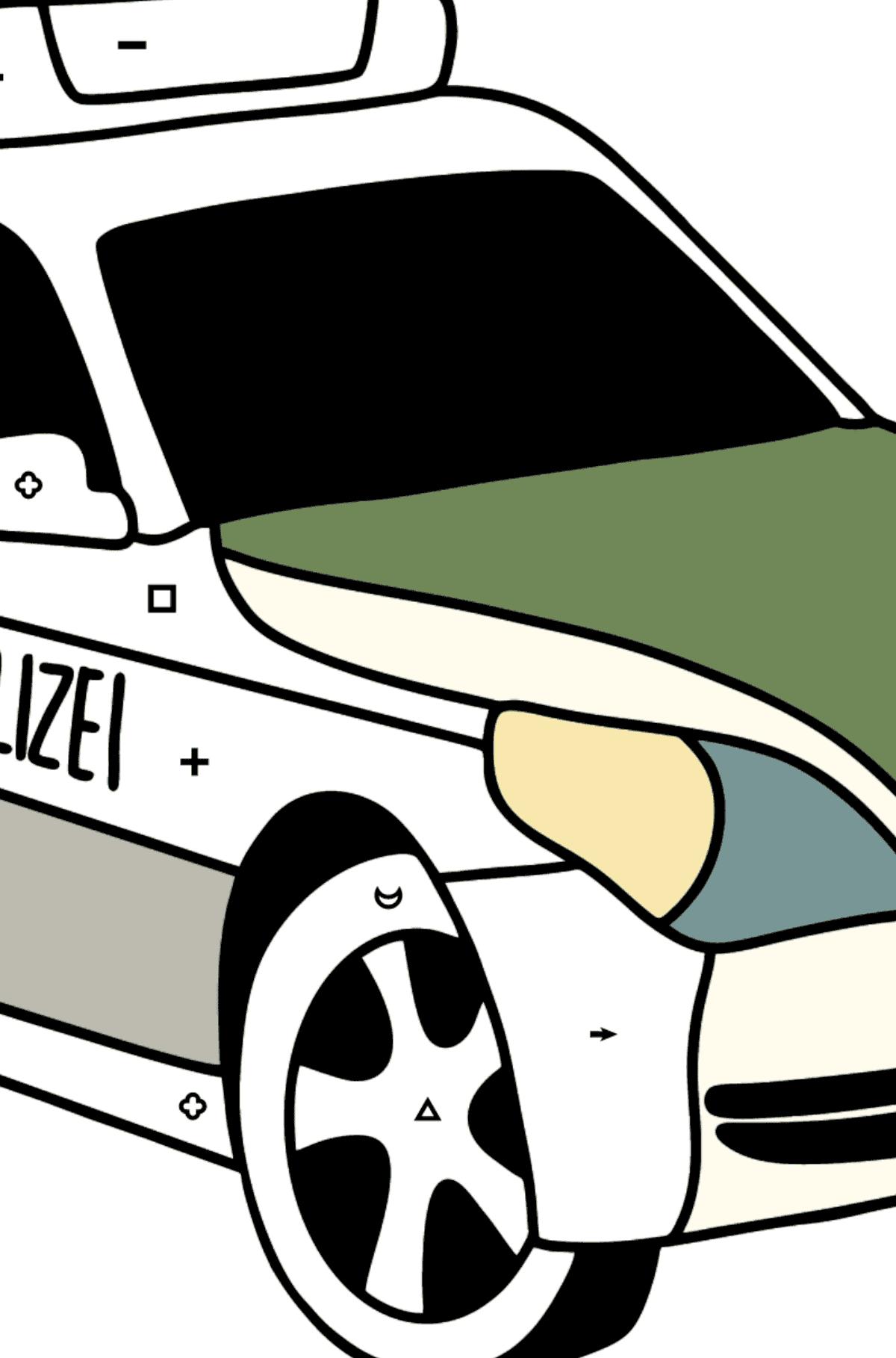 Раскраска Машина полиции в Германии - Раскраска по Символам и Геометрическим Фигурам для Детей