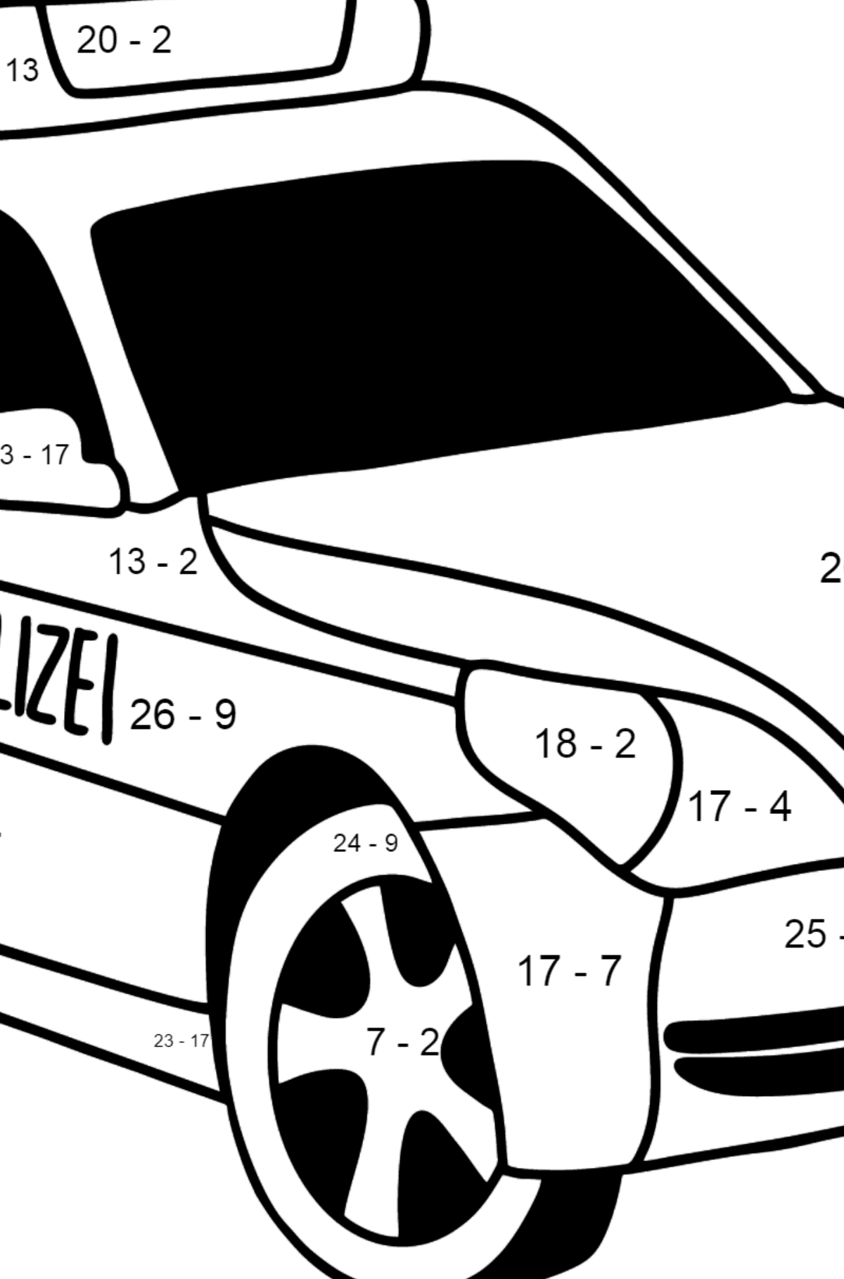 Police Car in Germany coloring page - Math Coloring - Subtraction for Kids