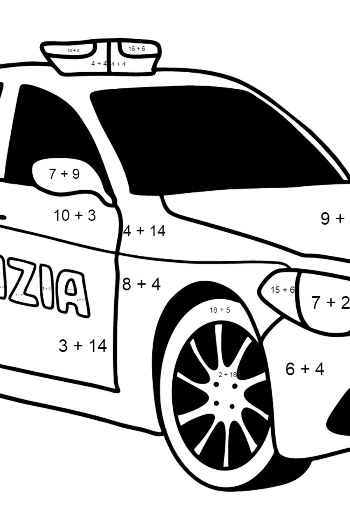 Police Car in Italy coloring page - Math Coloring - Addition for Kids