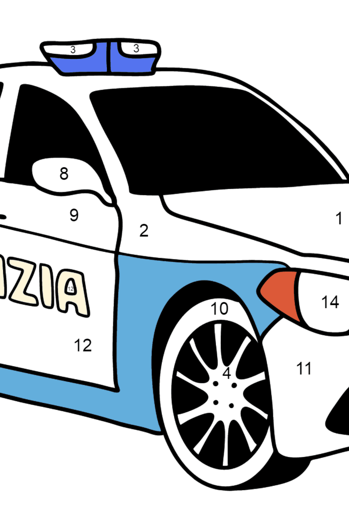 Police Car in Italy coloring page - Coloring by Numbers for Kids