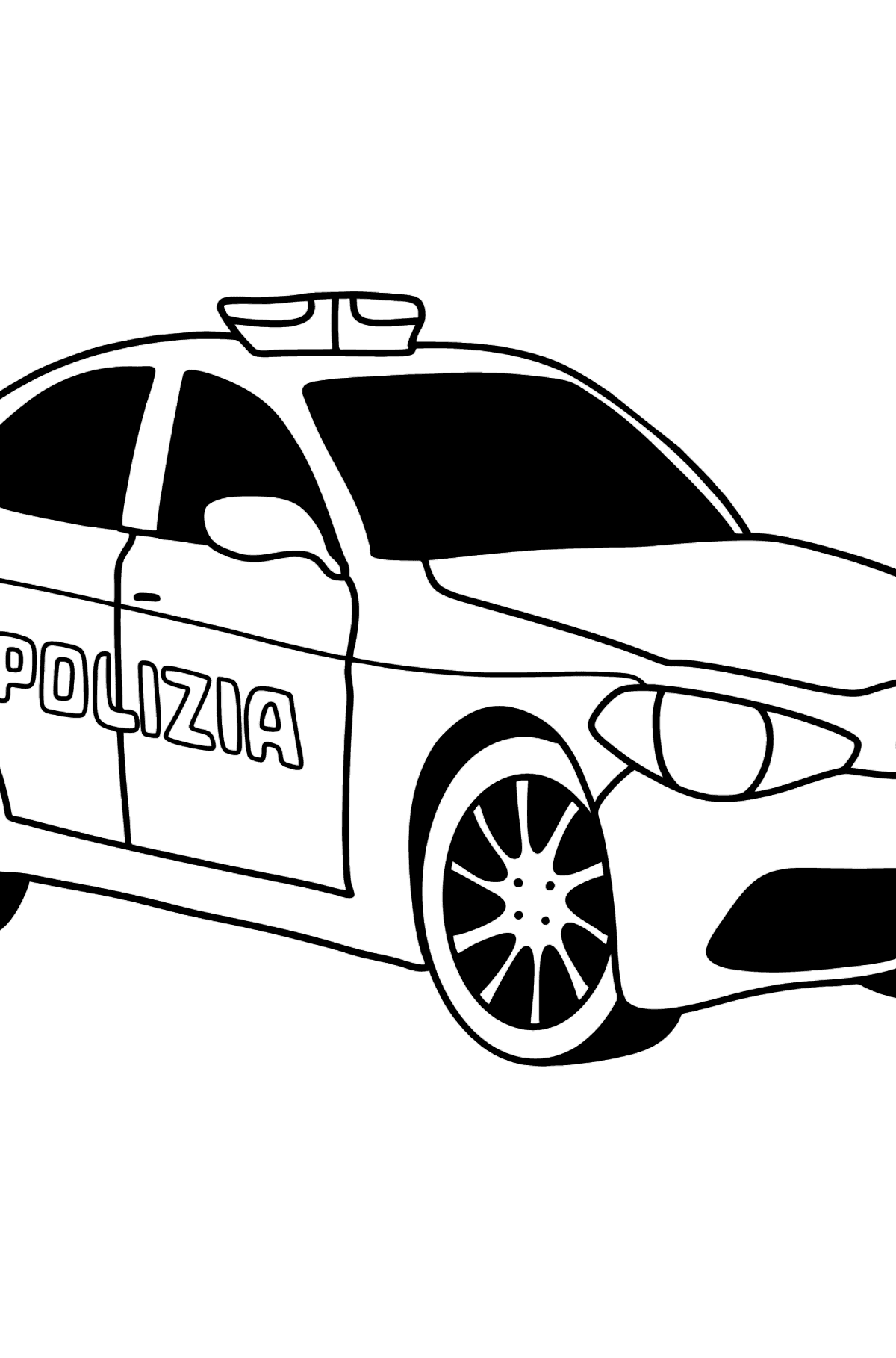 Police Car in Italy coloring page - Coloring Pages for Kids
