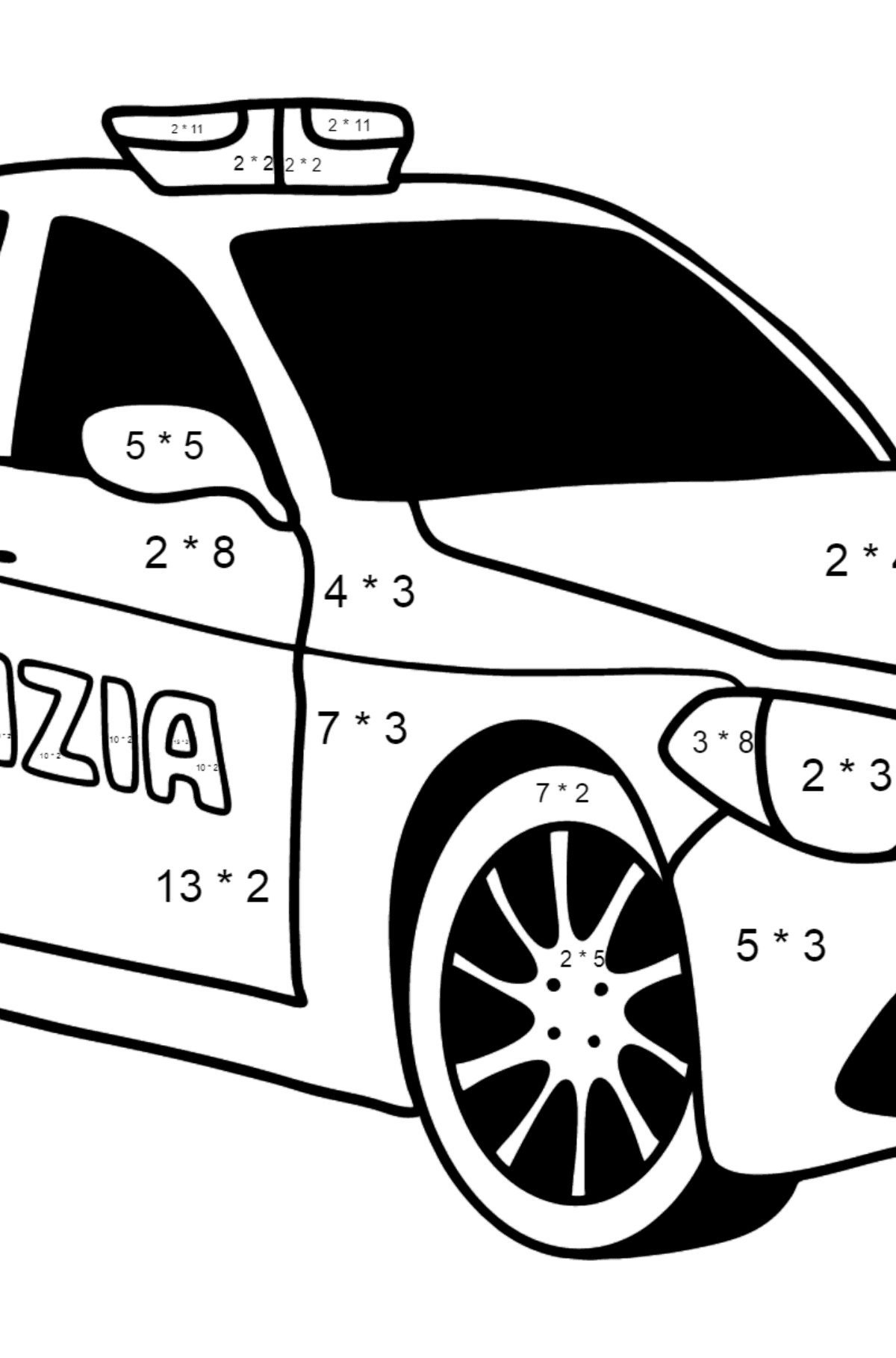 Police Car in Italy coloring page - Math Coloring - Multiplication for Kids