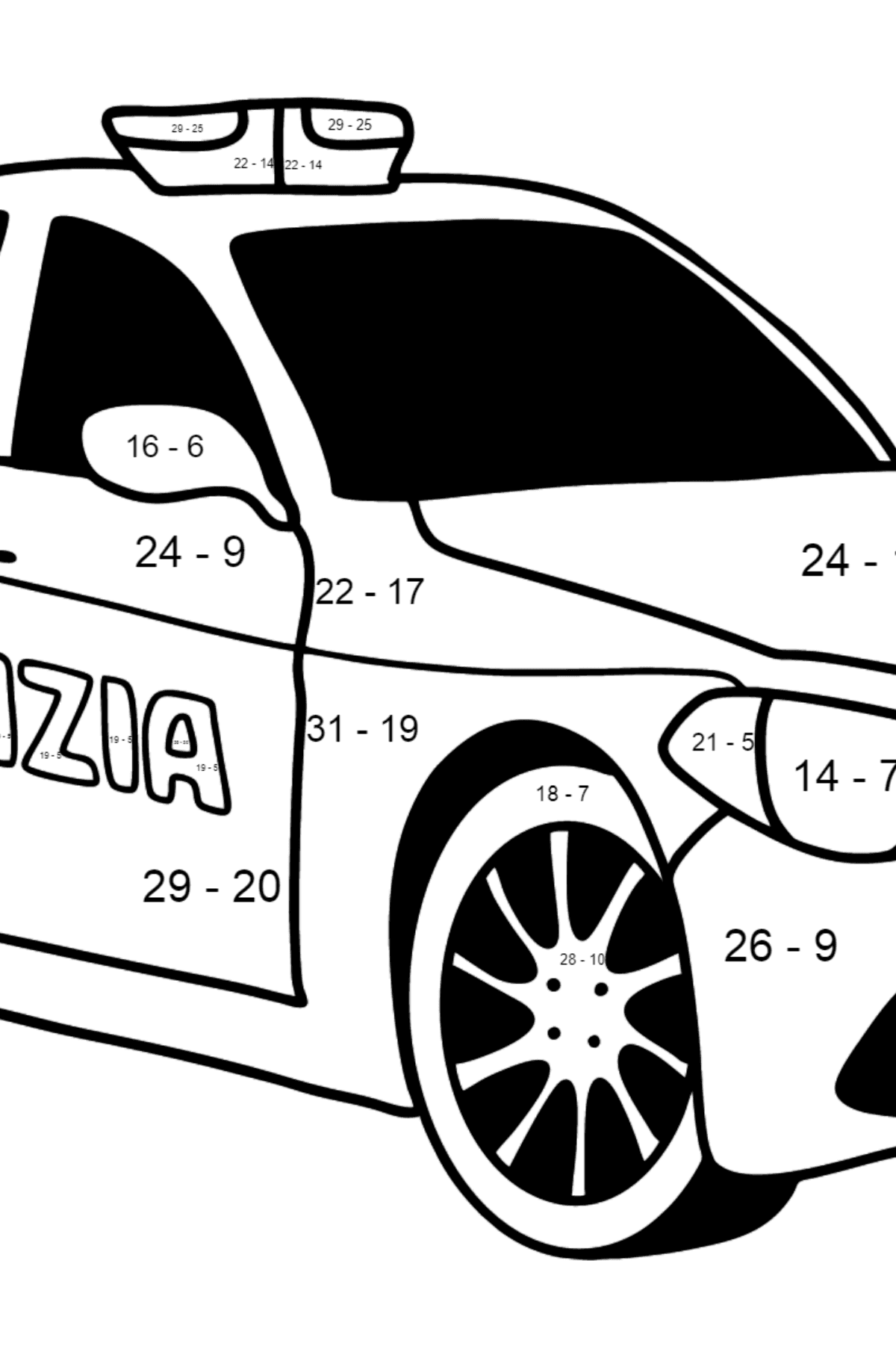 Police Car in Italy coloring page - Math Coloring - Subtraction for Kids