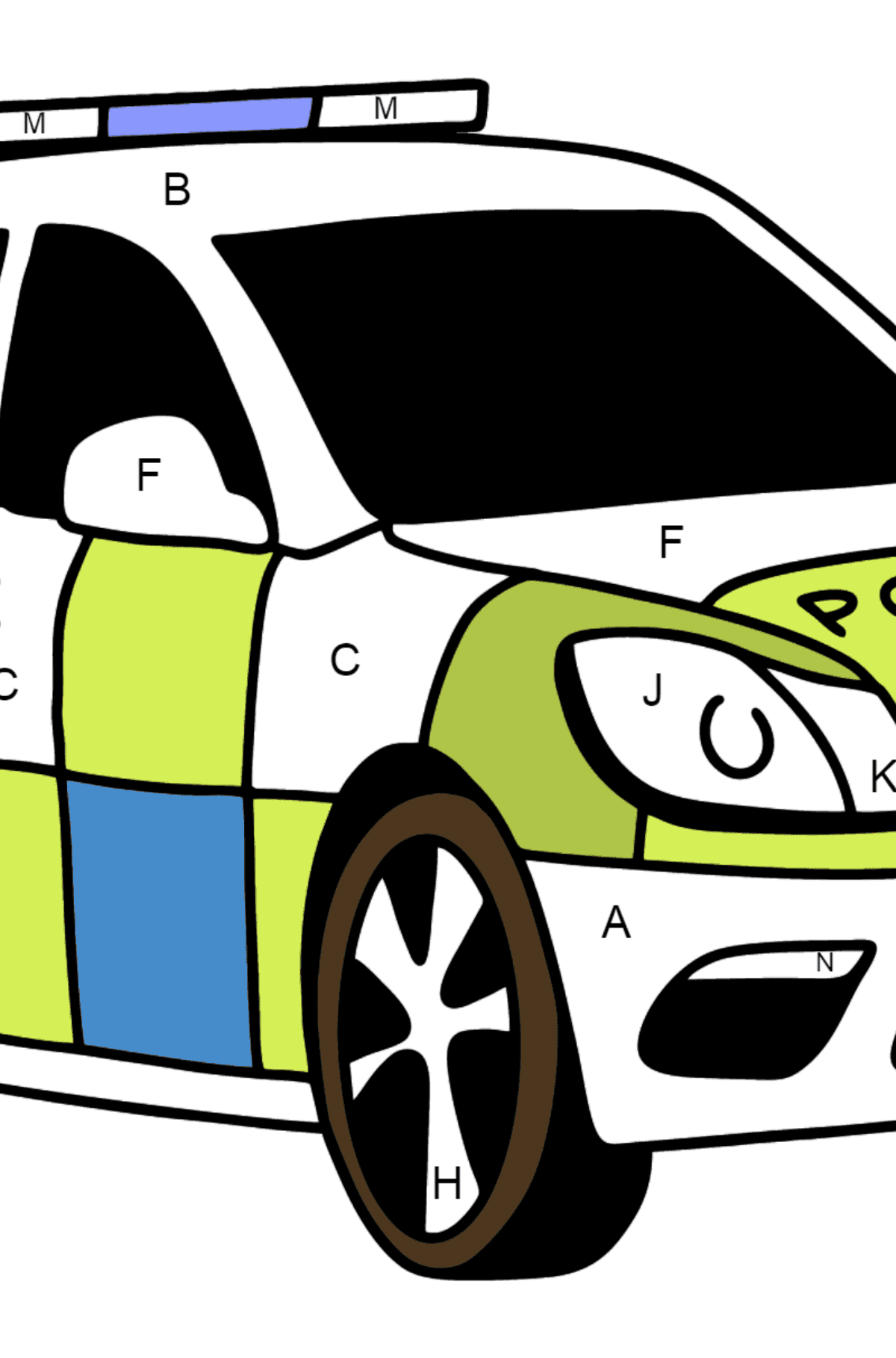 UK Police Car coloring page - Coloring by Letters for Kids