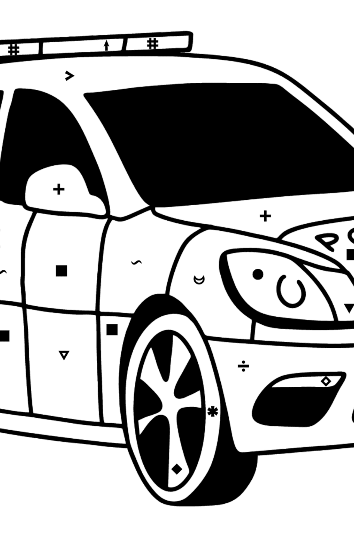 UK Police Car coloring page - Coloring by Symbols for Kids