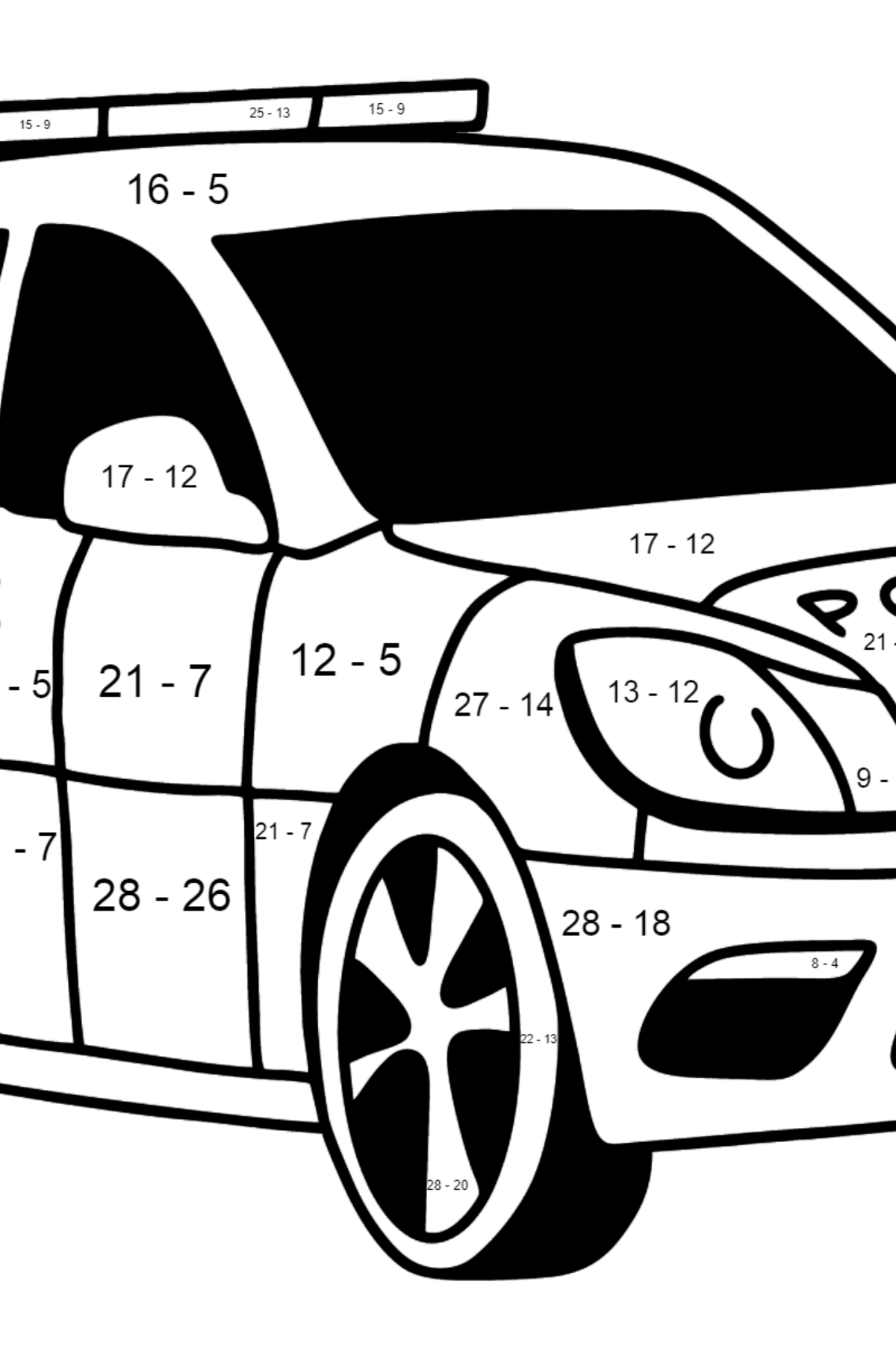 UK Police Car coloring page - Math Coloring - Subtraction for Kids