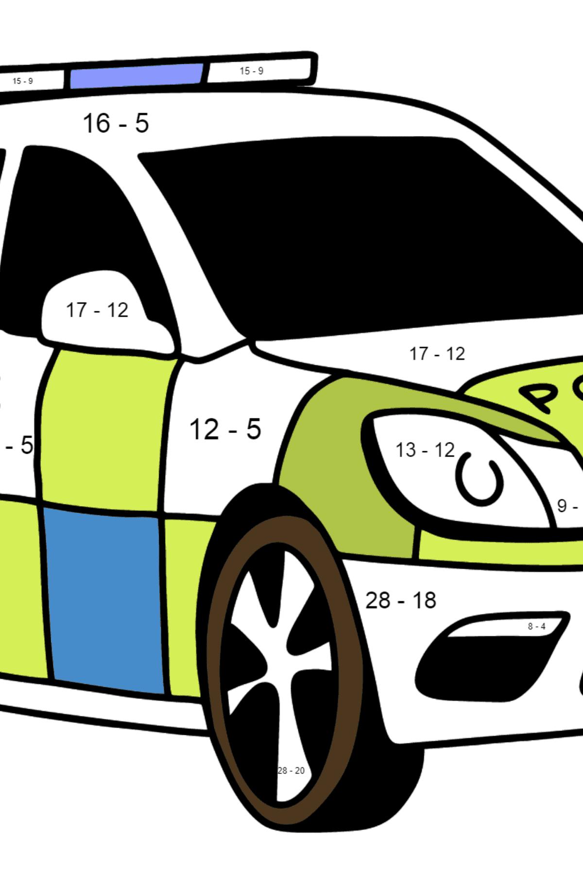 Раскраска Машина полиции в Великобритании - Математическая Раскраска - Вычитание для Детей
