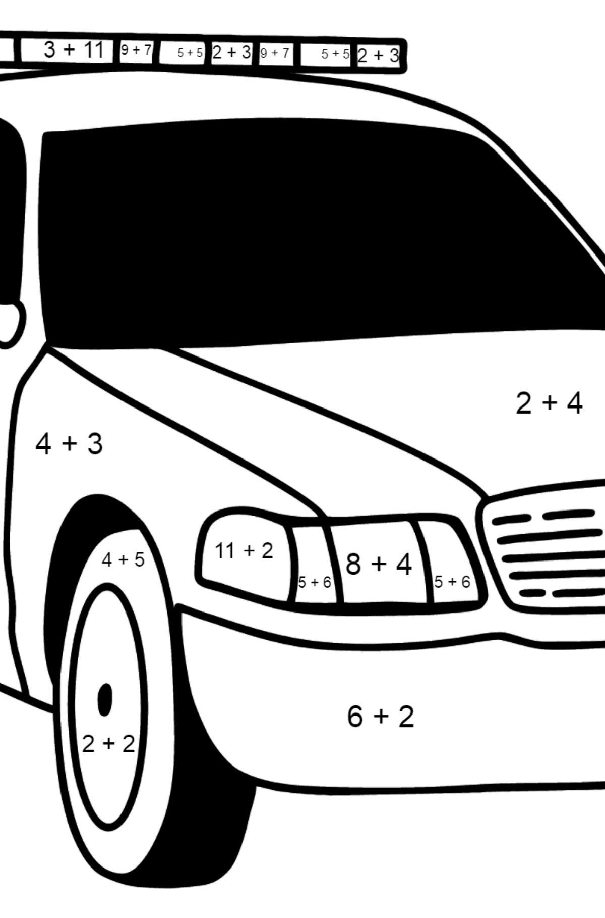 US Police Car coloring page - Math Coloring - Addition for Kids