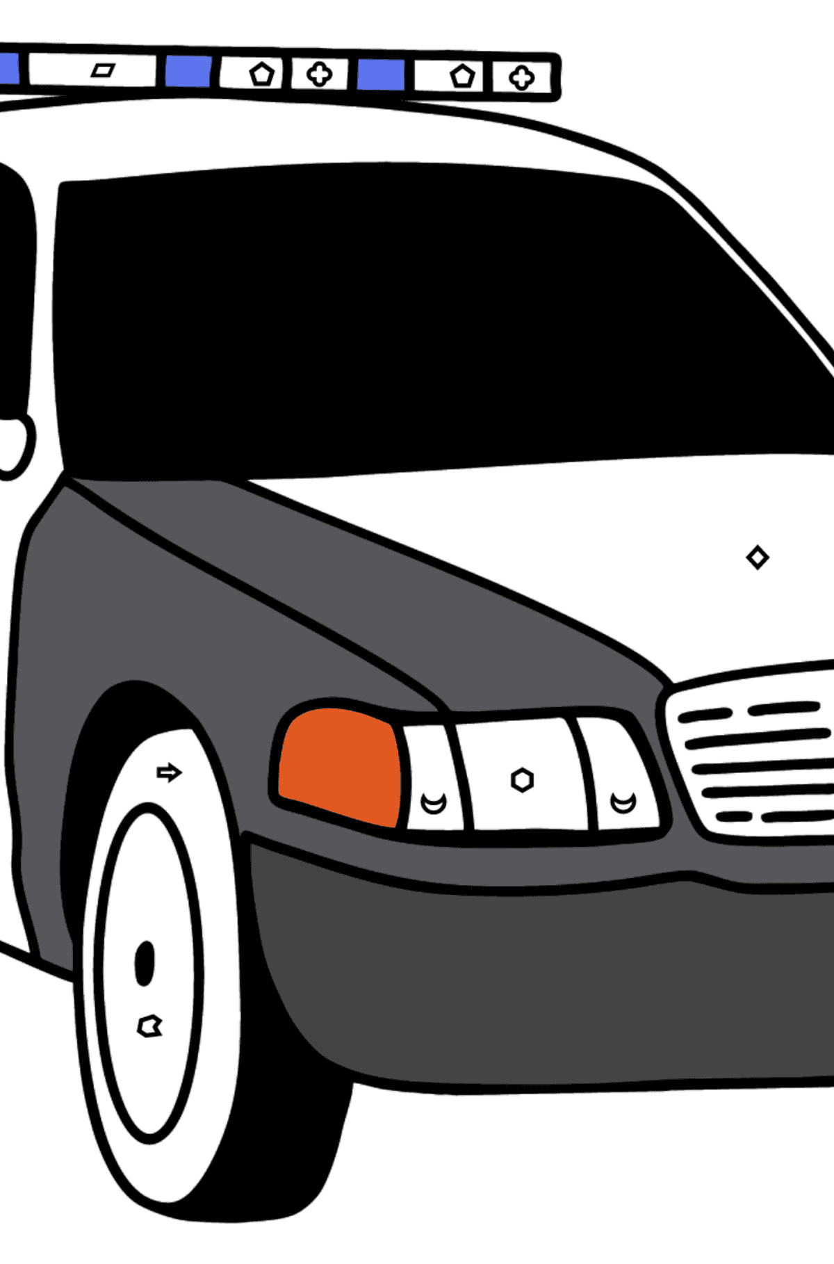 US Police Car coloring page - Coloring by Geometric Shapes for Kids