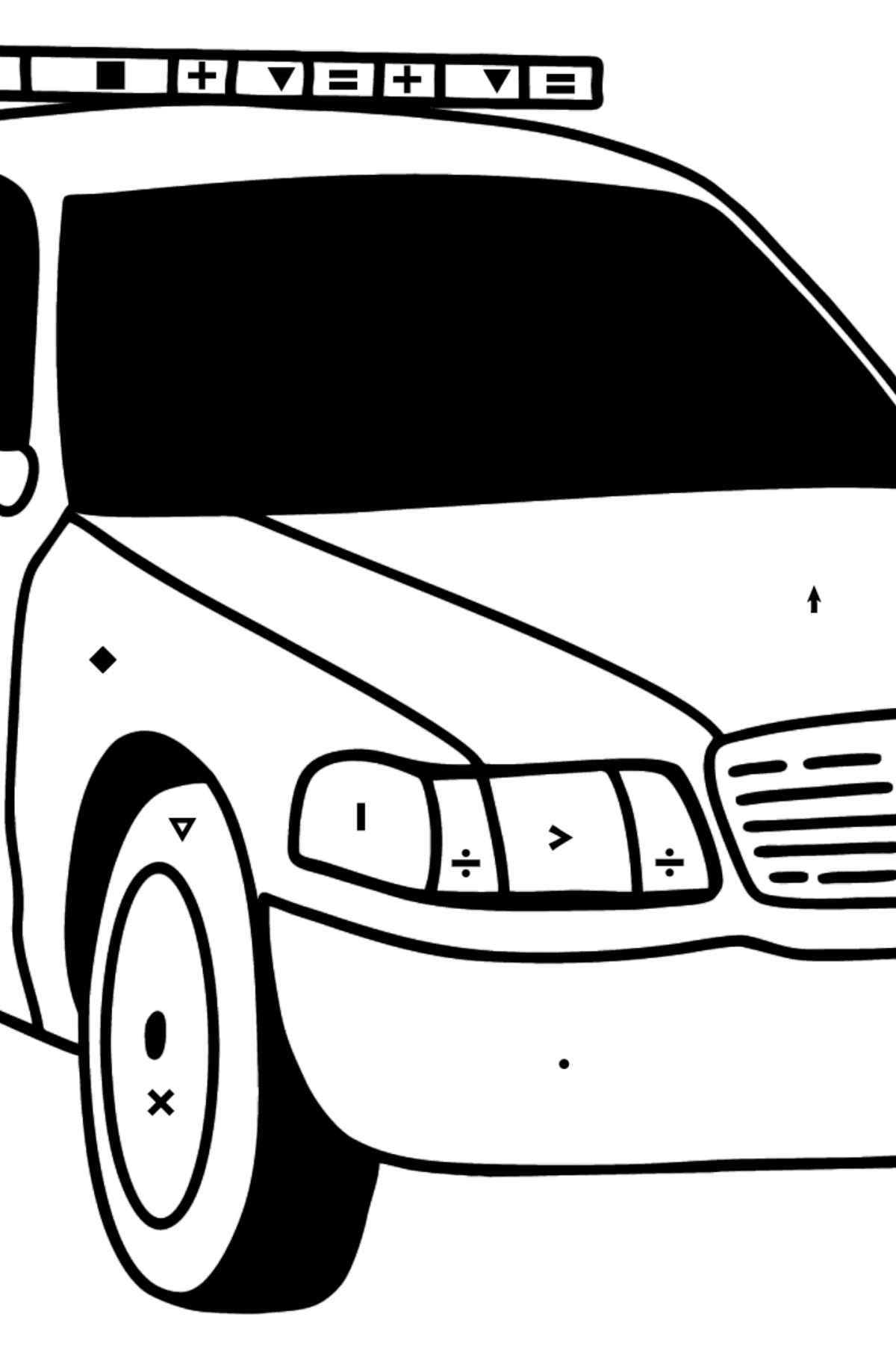 US Police Car coloring page - Coloring by Symbols for Kids