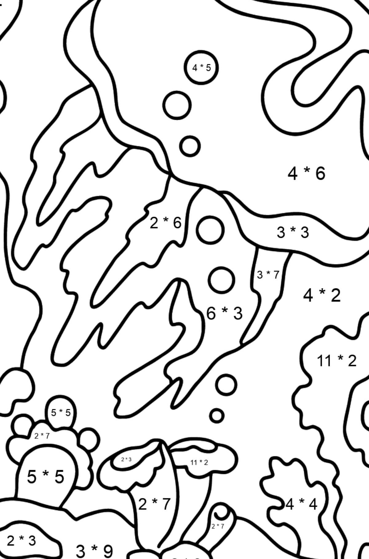 A Giant Jellyfish Coloring Page - Math Coloring - Multiplication for Kids