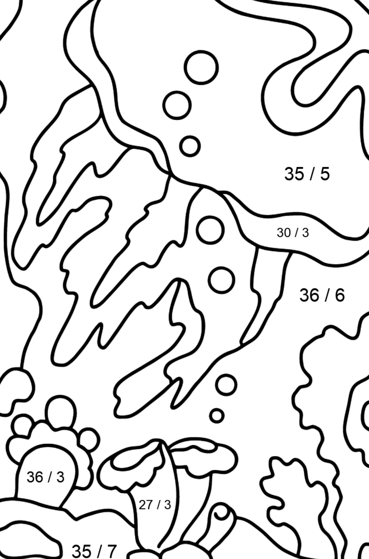 A Seethrough Jellyfish Coloring Page - Math Coloring - Division for Kids