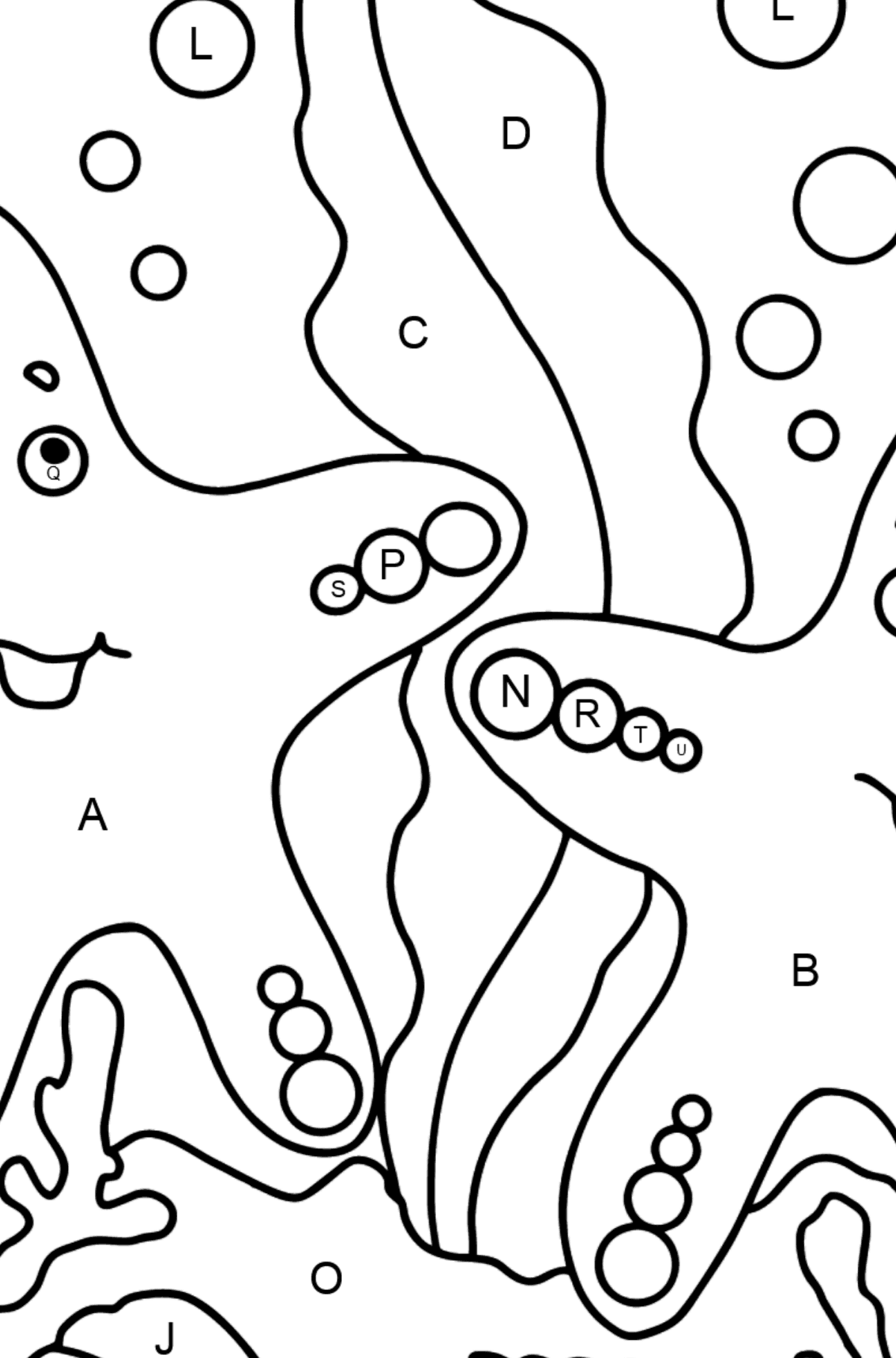 Two Starfish Coloring Page - Coloring by Letters for Kids