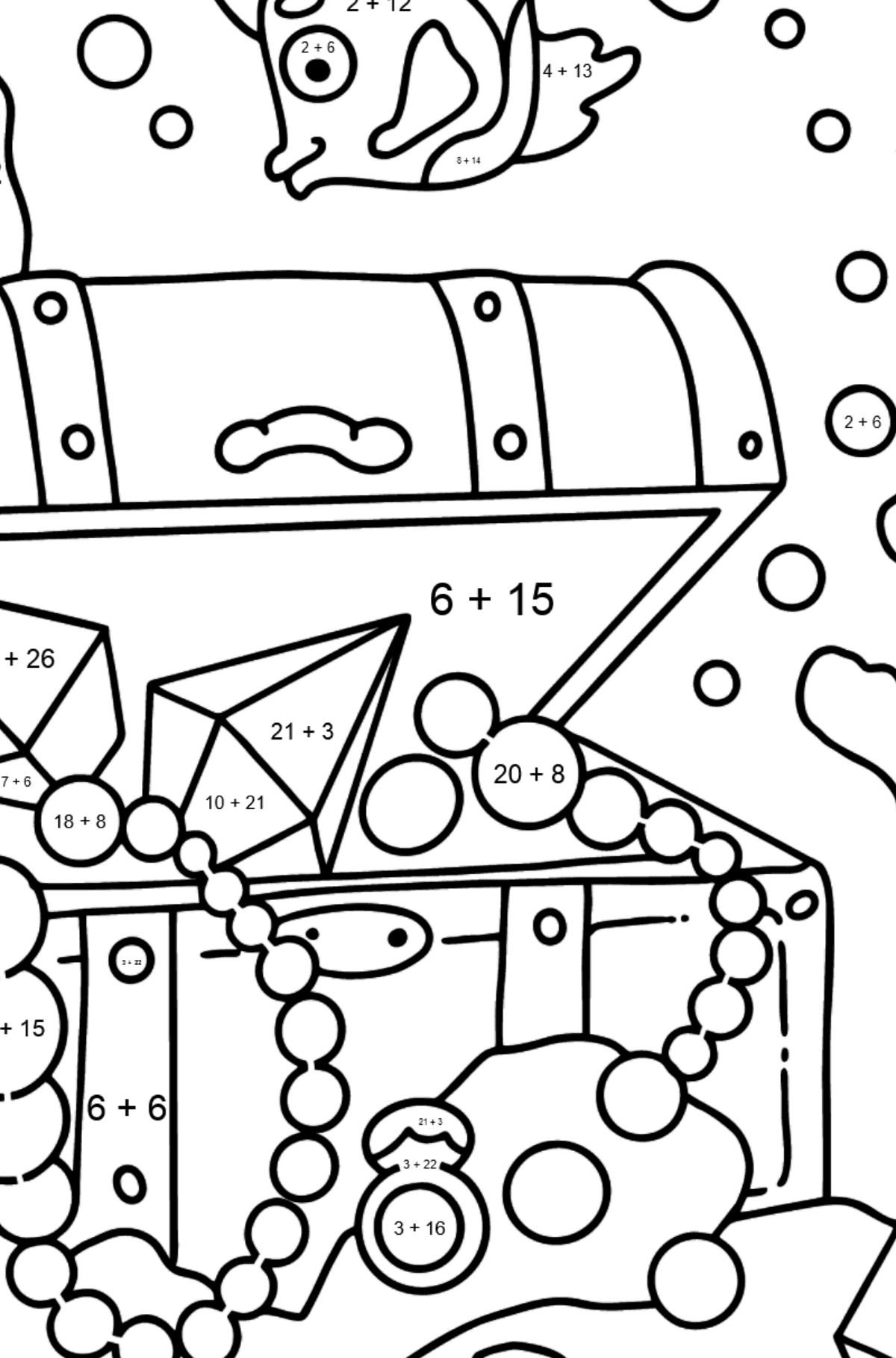 Coloring Page - A Fish is Looking for a Treasure - Math Coloring - Addition for Kids