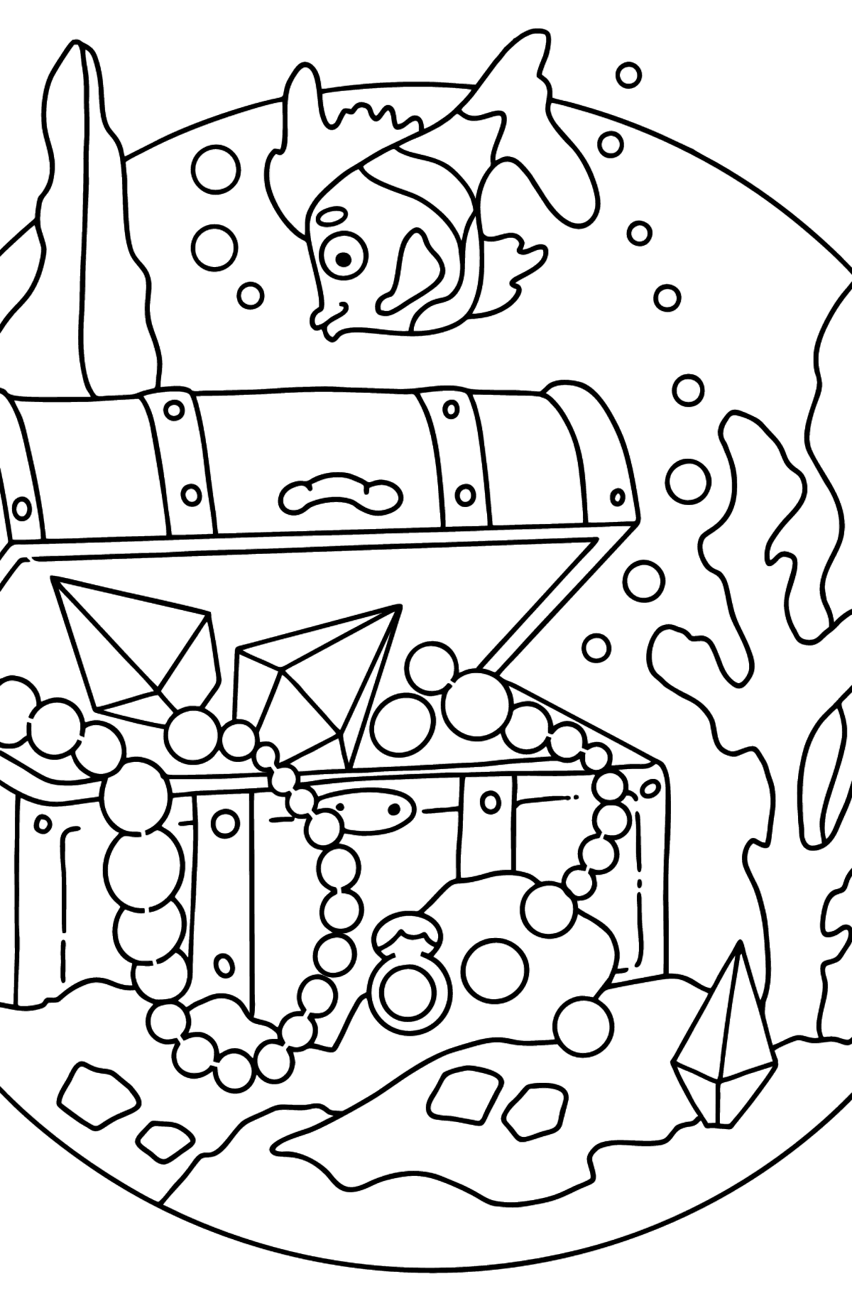 Coloring Page - A Fish is Looking for a Treasure - Coloring Pages for Kids