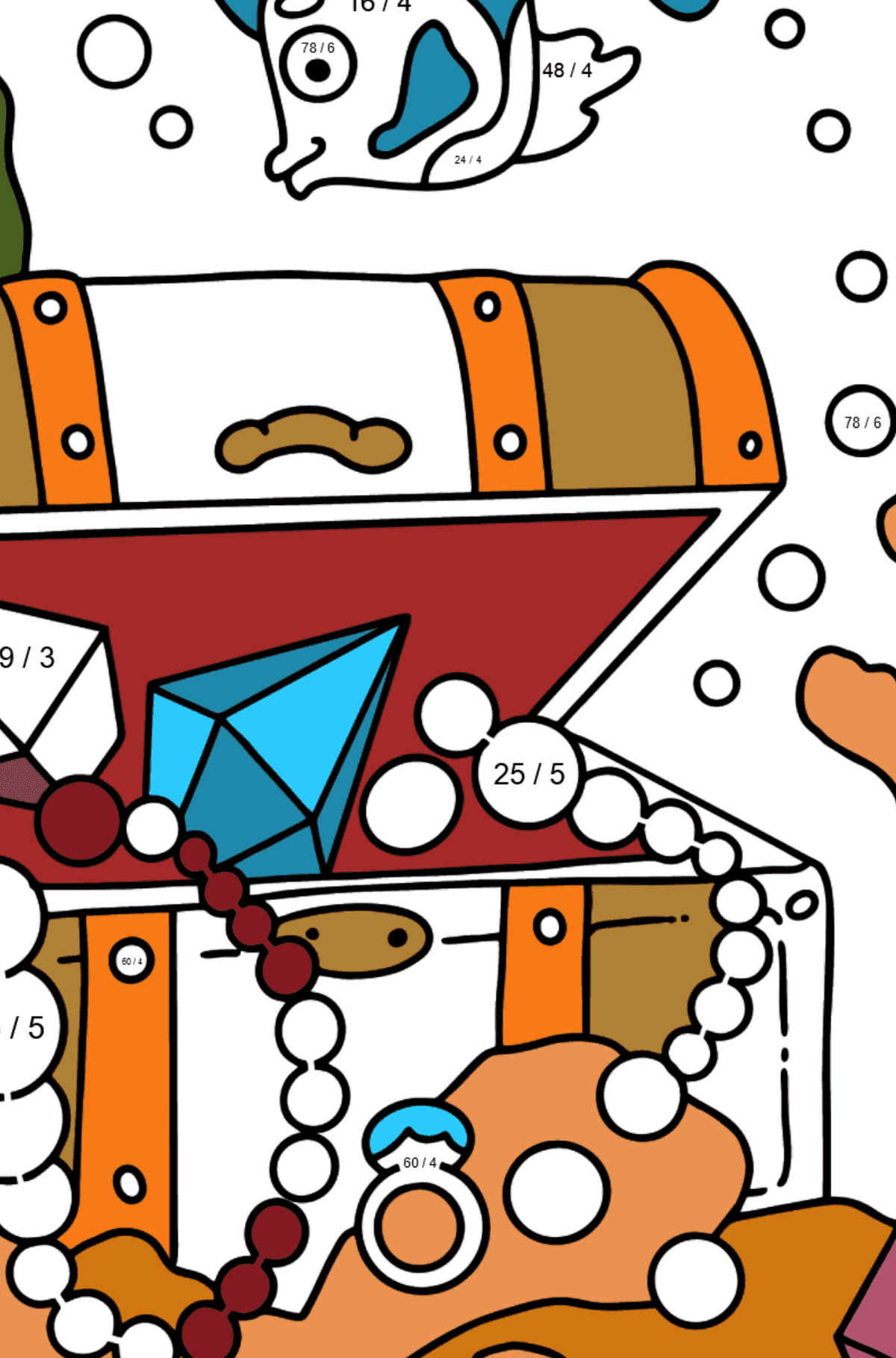 Coloring Page - A Fish is Looking for a Treasure - Math Coloring - Division for Kids