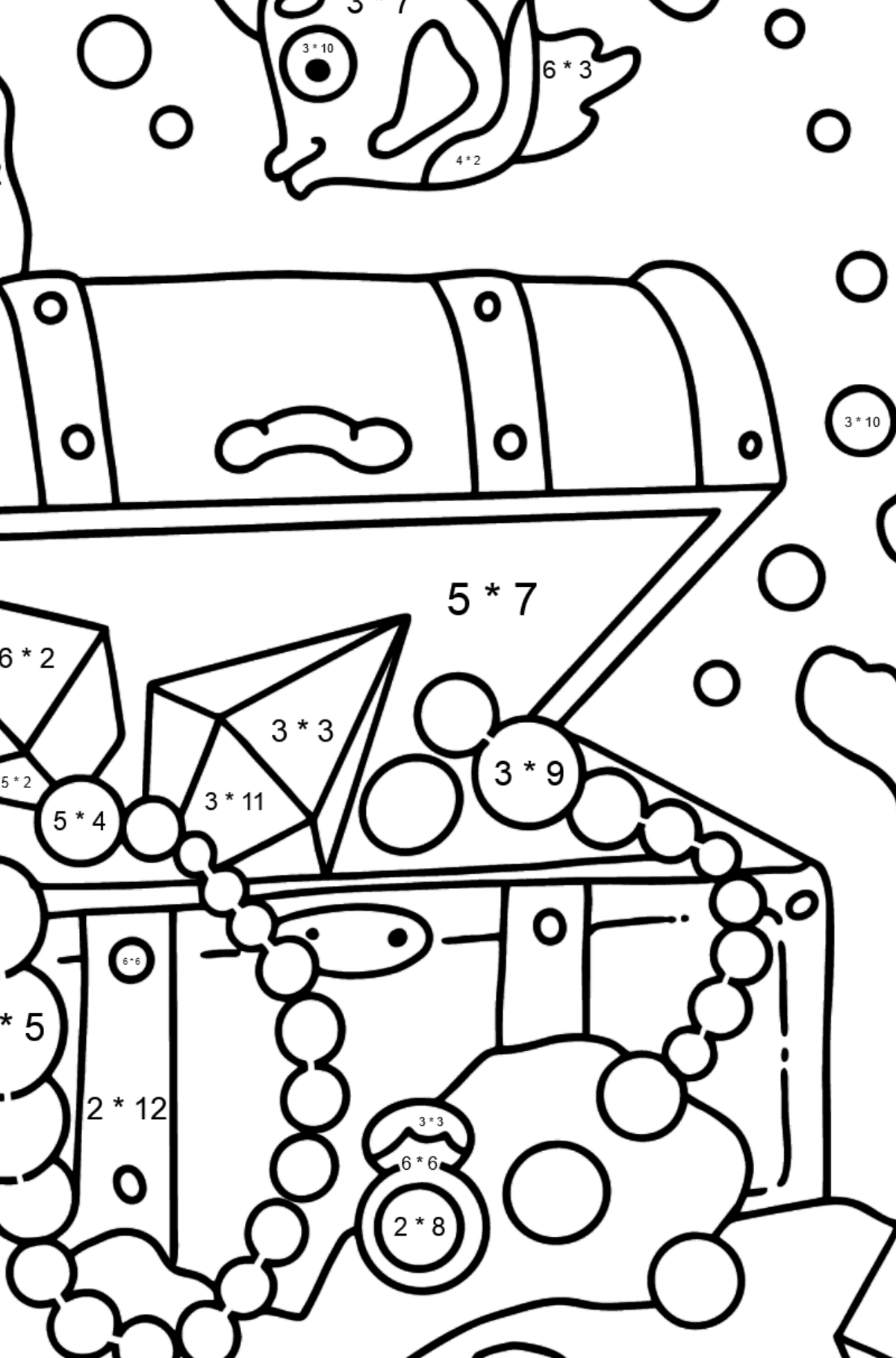 Coloring Page - A Fish is Looking for a Treasure - Math Coloring - Multiplication for Kids