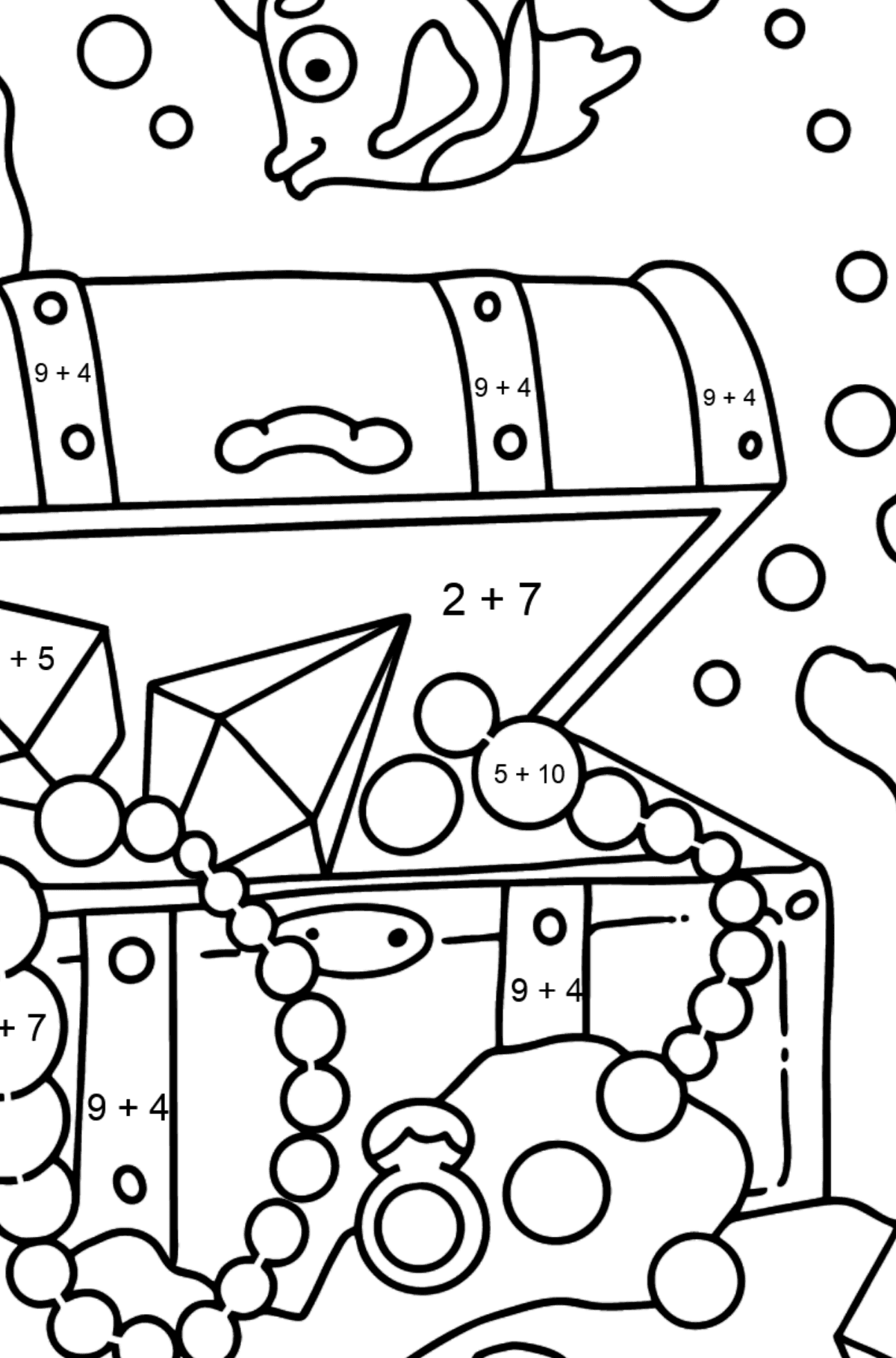 Coloring Page - A Fish is Swimming Around a Pirate's Chest - Math Coloring - Addition for Kids