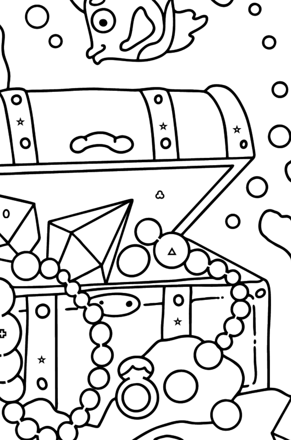 Coloring Page - A Fish is Swimming Around a Pirate's Chest - Coloring by Geometric Shapes for Kids