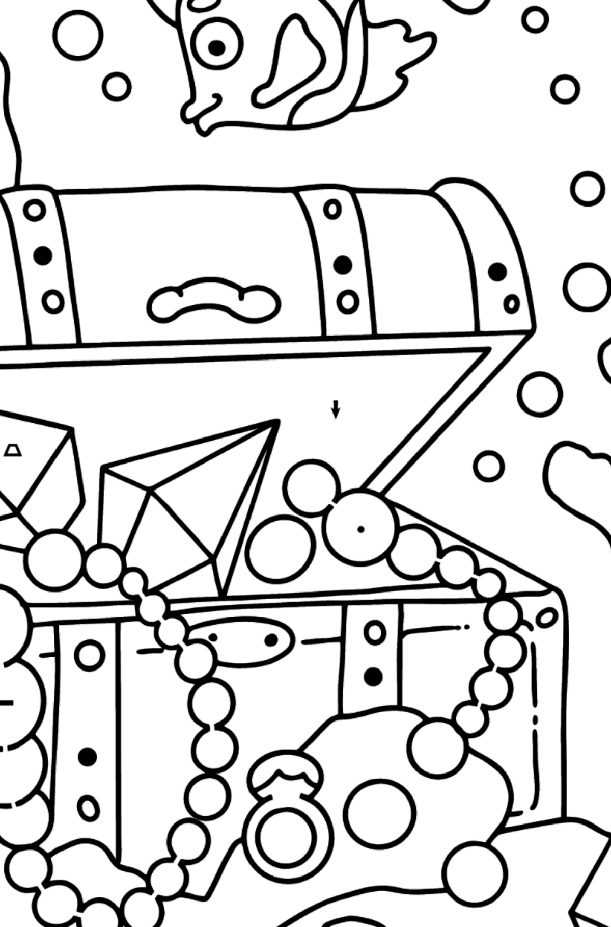 Coloring Page - A Fish is Swimming Around a Pirate's Chest - Coloring by Symbols and Geometric Shapes for Kids