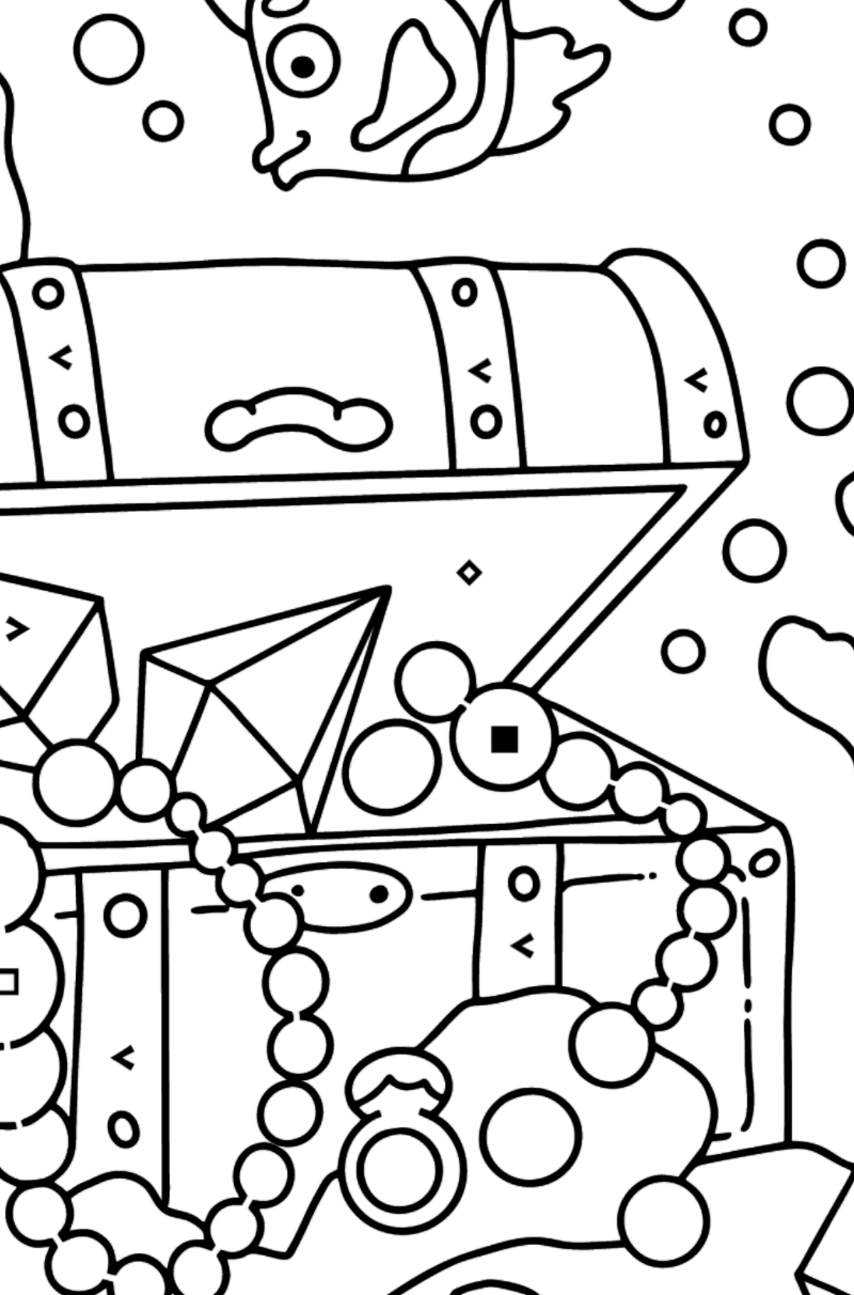Coloring Page - A Fish is Swimming Around a Pirate's Chest - Coloring by Symbols for Kids