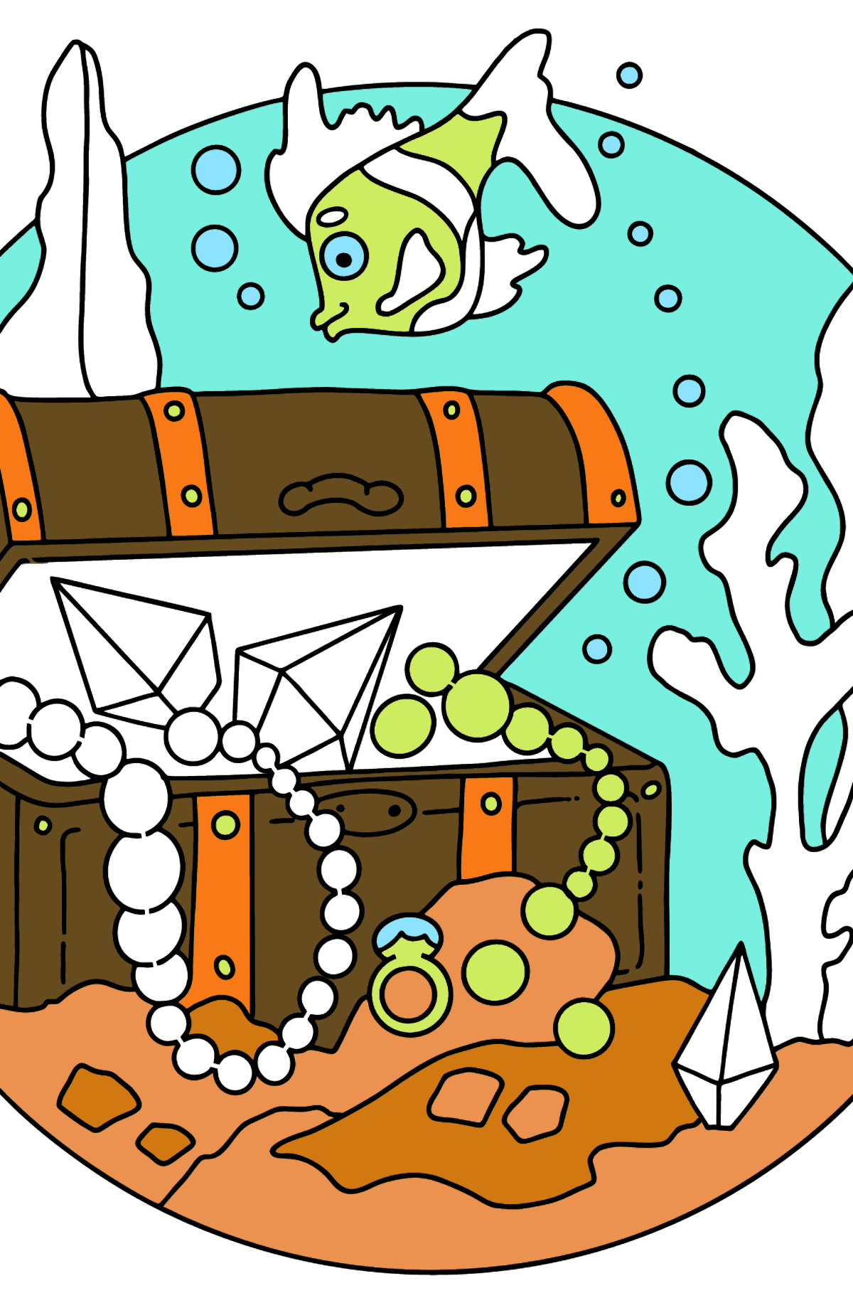 Coloring Page - A Fish is Swimming Around a Pirate's Chest - Coloring Pages for Kids