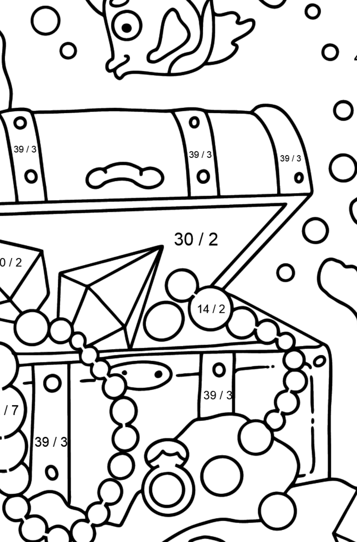 Coloring Page - A Fish is Swimming Around a Pirate's Chest - Math Coloring - Division for Kids