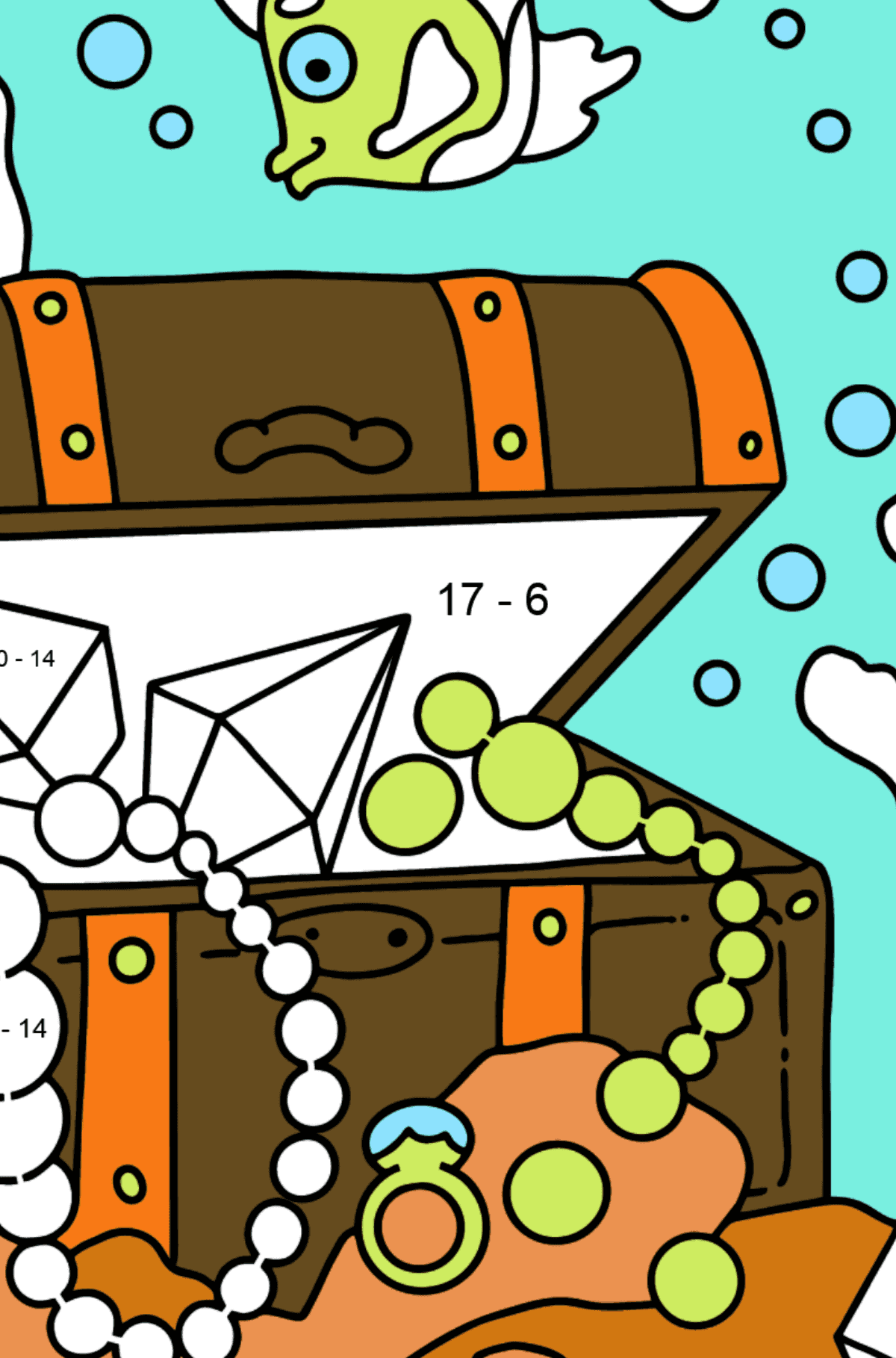 Coloring Page - A Fish is Swimming Around a Pirate's Chest - Math Coloring - Subtraction for Kids
