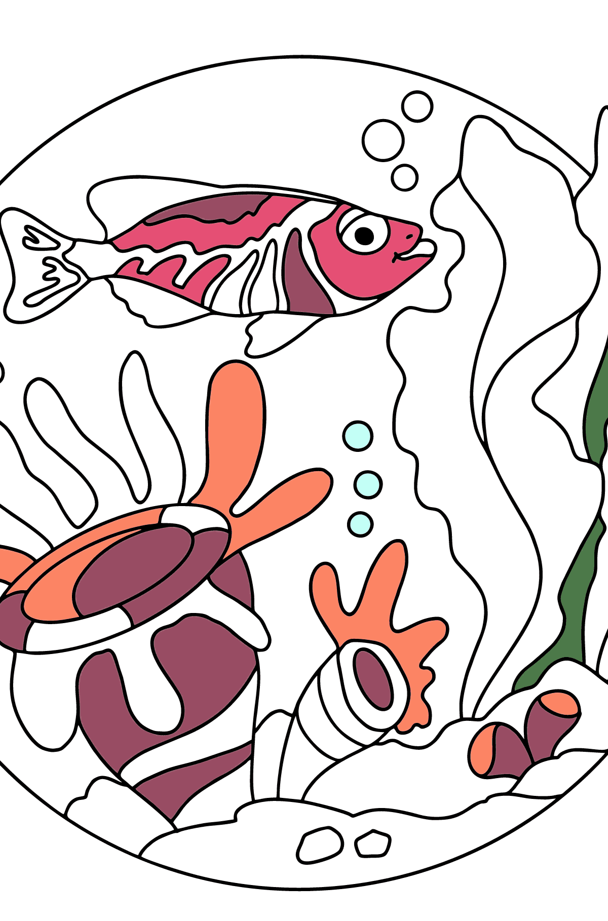 Coloring Page - A Fish is Swimming past the Corals - Coloring Pages for Kids