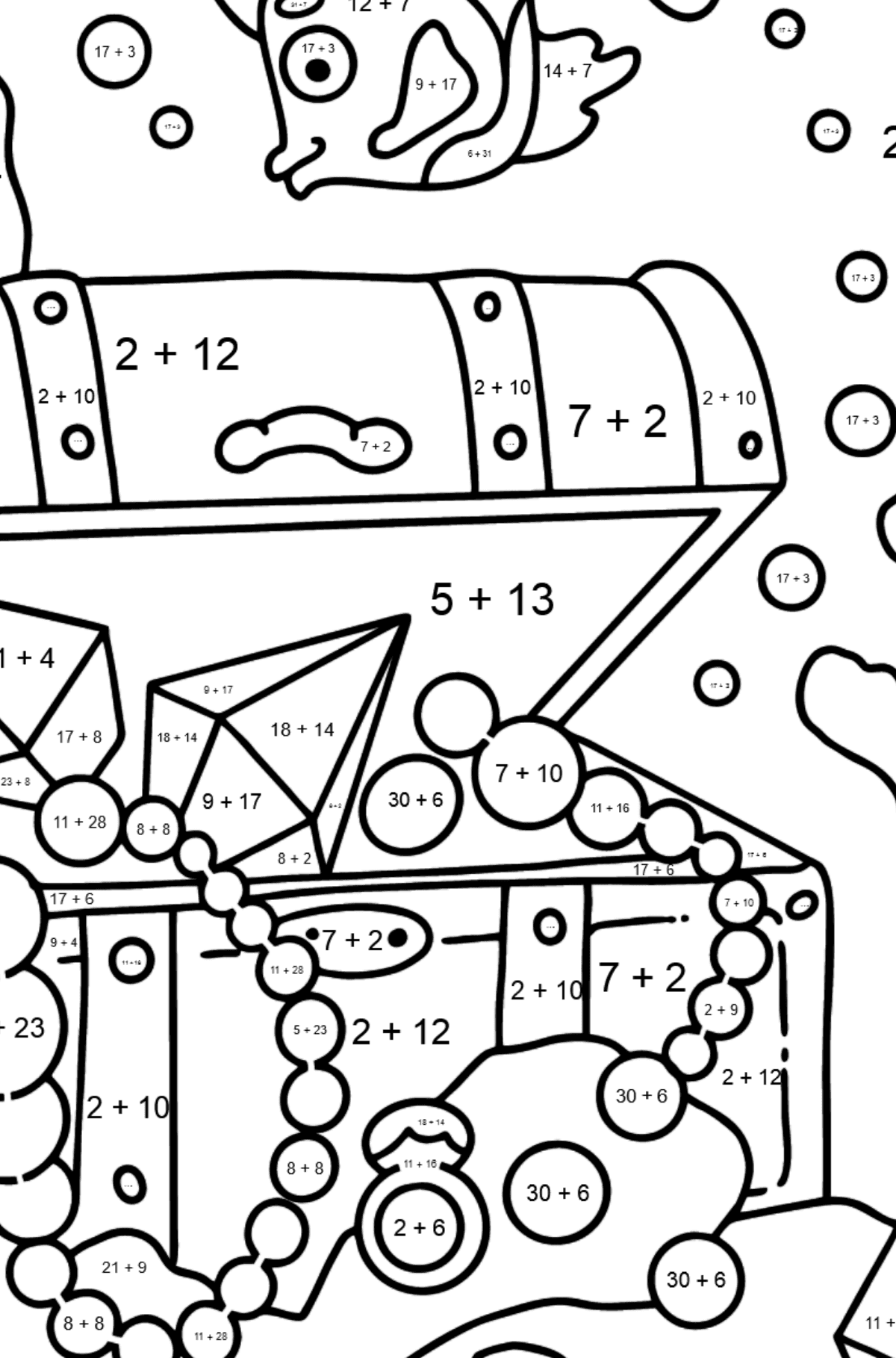 Coloring Page - A Fish is Taking a Peek at a Treasure - Math Coloring - Addition for Kids