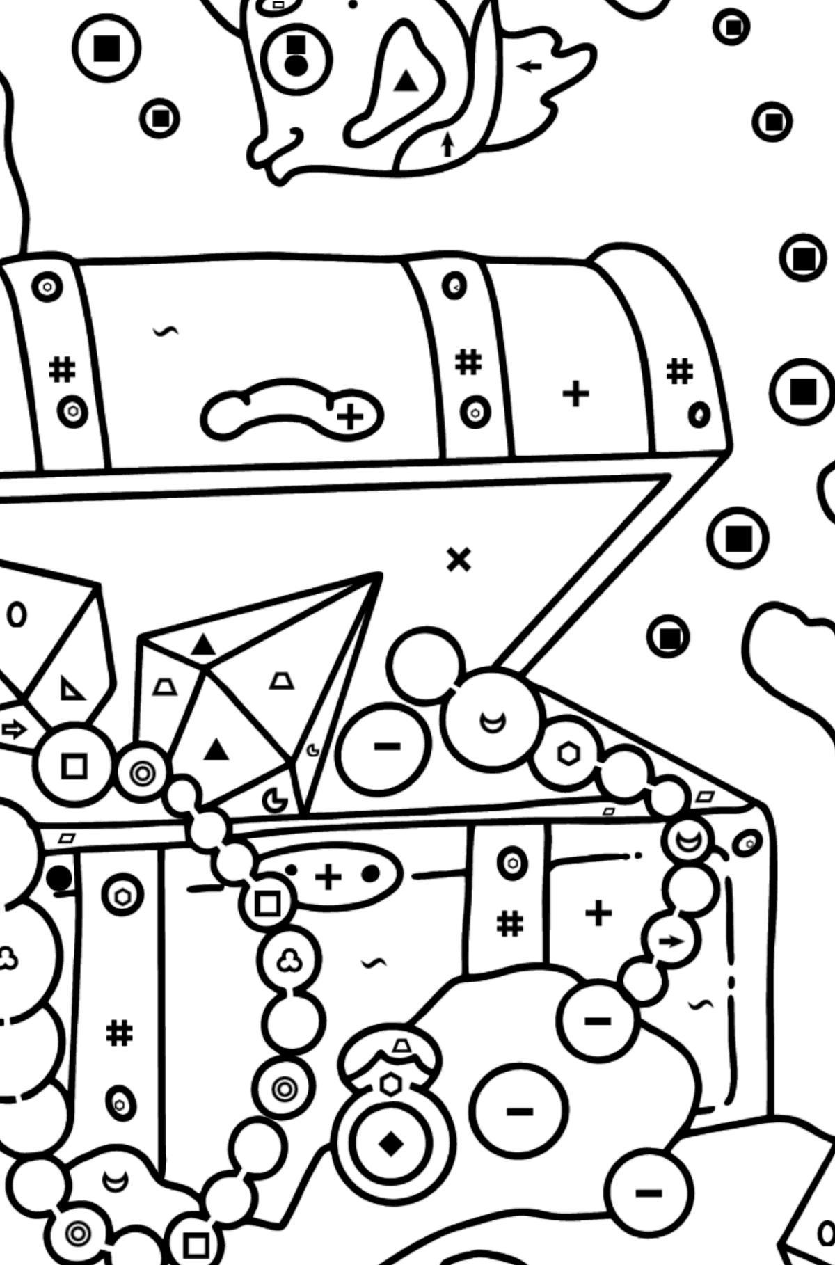 Coloring Page - A Fish is Taking a Peek at a Treasure - Coloring by Symbols and Geometric Shapes for Kids