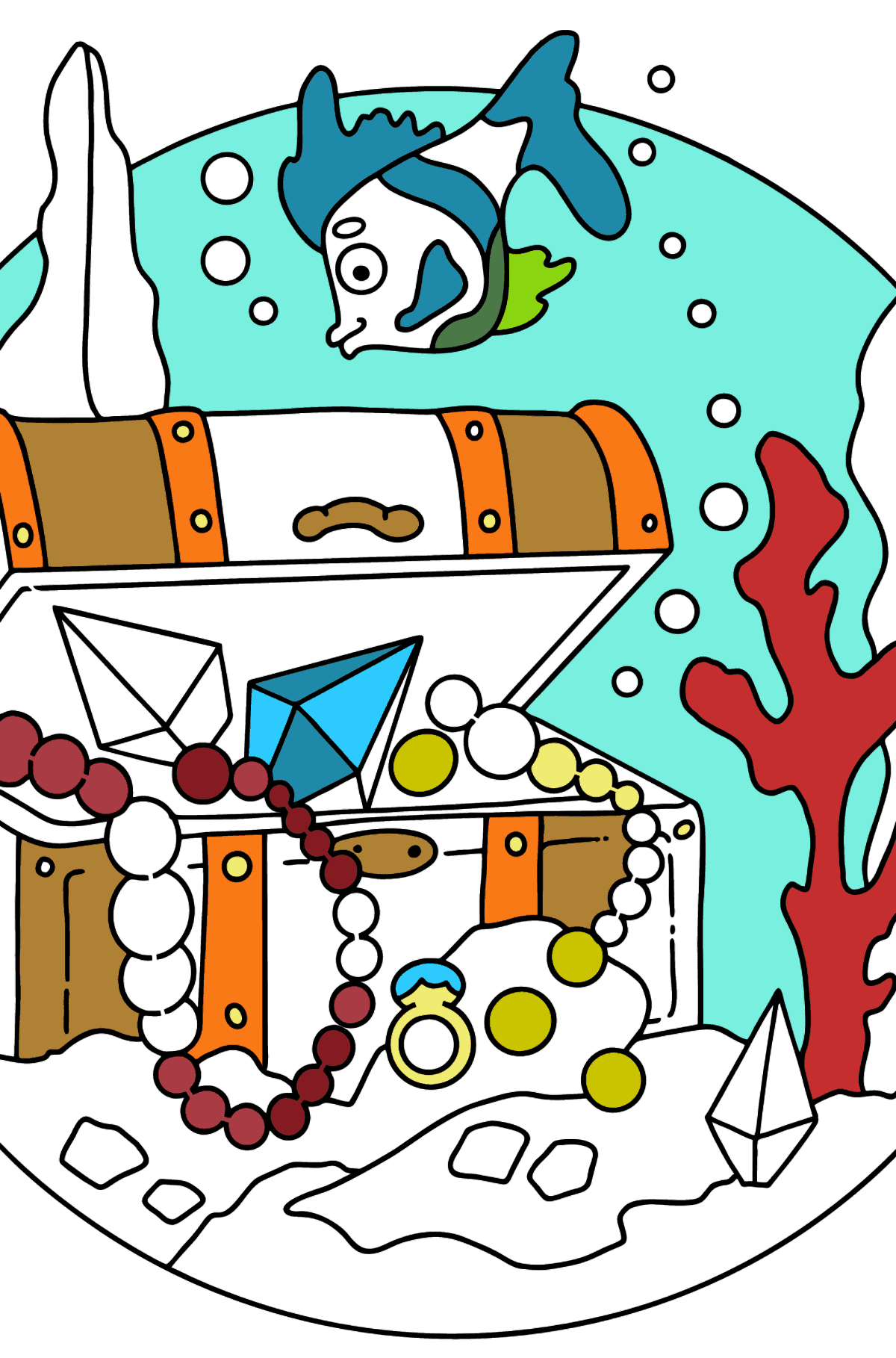 Coloring Page - A Fish is Taking a Peek at a Treasure - Coloring Pages for Kids