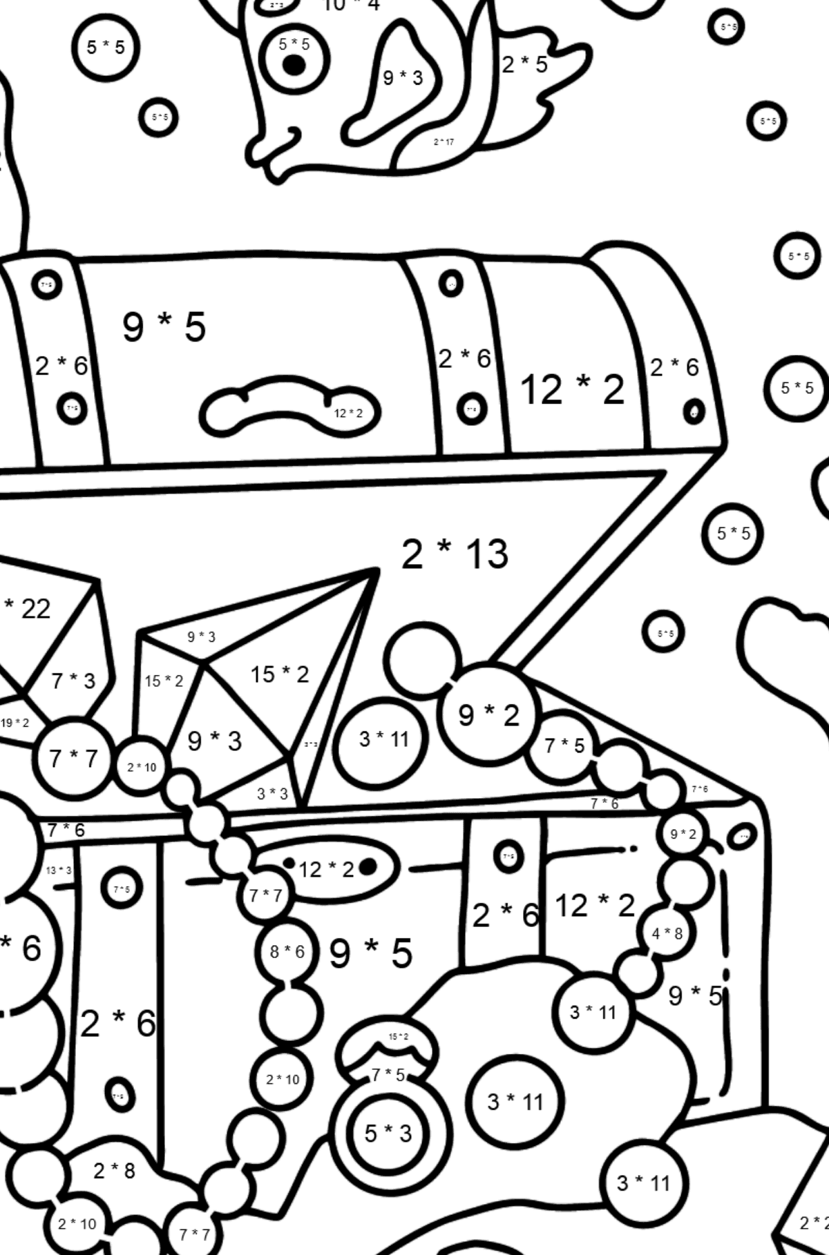 Coloring Page - A Fish is Taking a Peek at a Treasure - Math Coloring - Multiplication for Kids