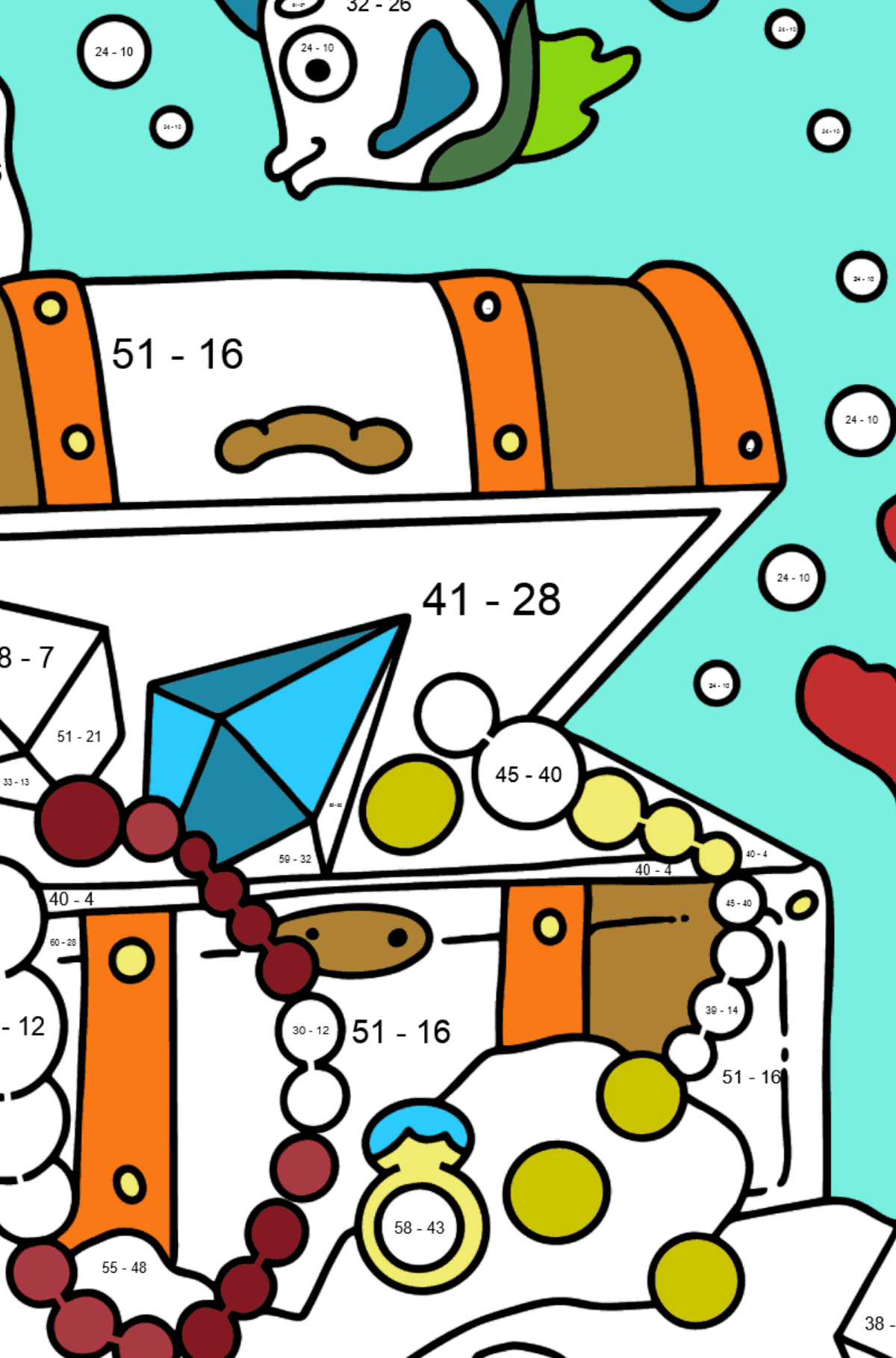 Coloring Page - A Fish is Taking a Peek at a Treasure - Math Coloring - Subtraction for Kids