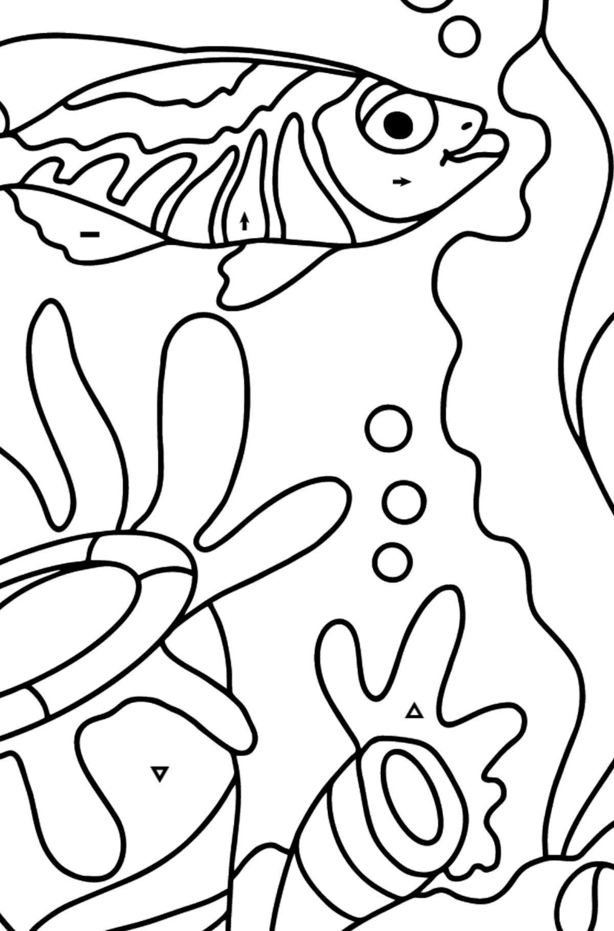 Coloring Page - A Fish is Watching the Corals Dreamily - Coloring by Symbols for Kids