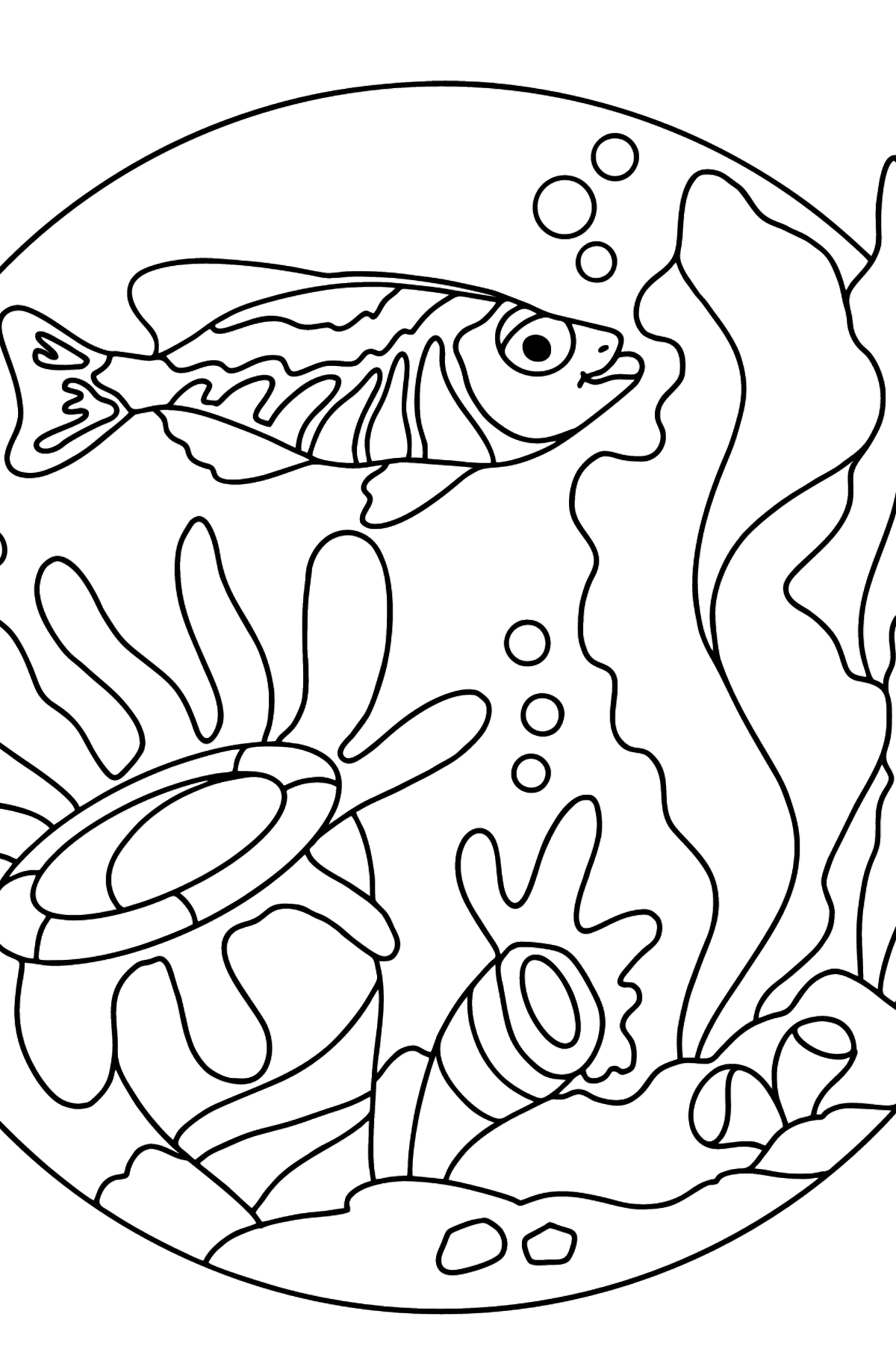 Coloring Page - A Fish is Watching the Corals Dreamily - Coloring Pages for Kids