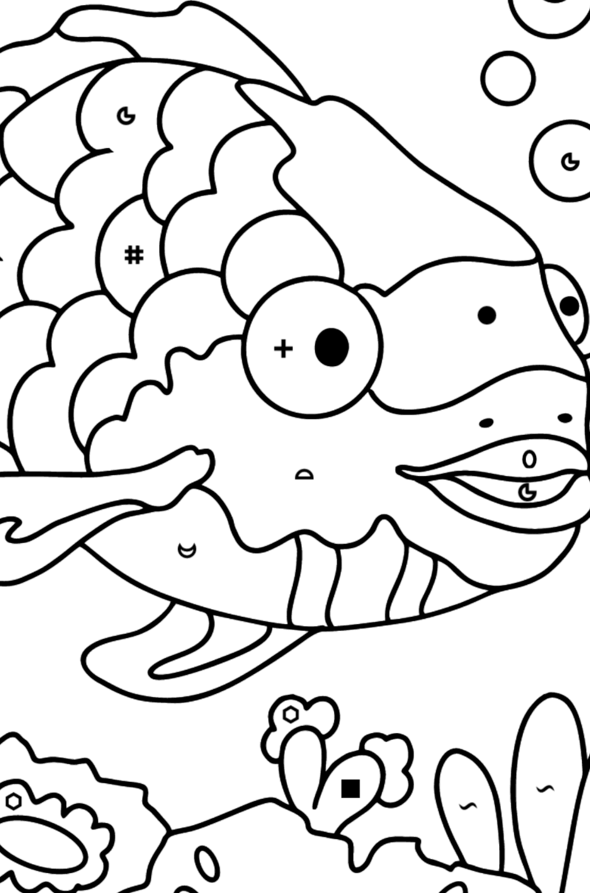 Coloring Page - A Fish with Beautiful Scales - Coloring by Symbols and Geometric Shapes for Kids