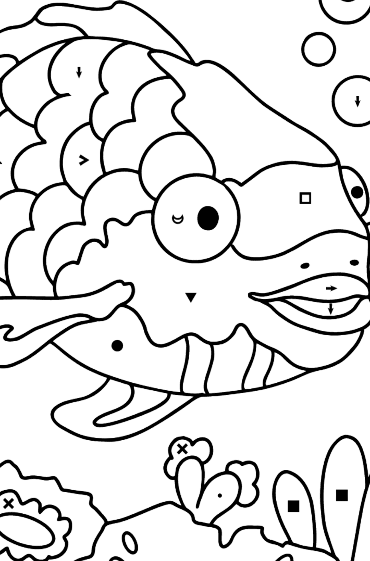 Coloring Page - A Fish with Beautiful Scales - Coloring by Symbols for Kids