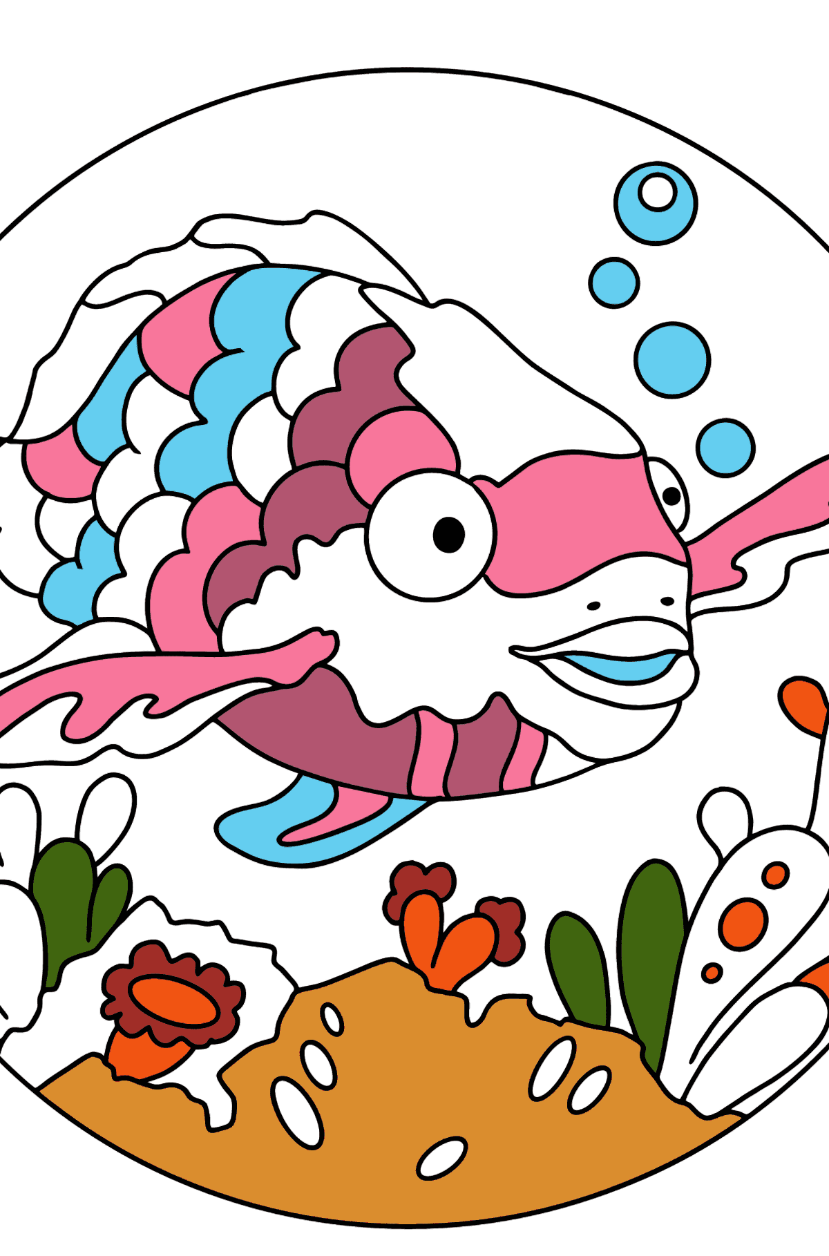 Coloring Page - A Fish with Beautiful Scales - Coloring Pages for Kids