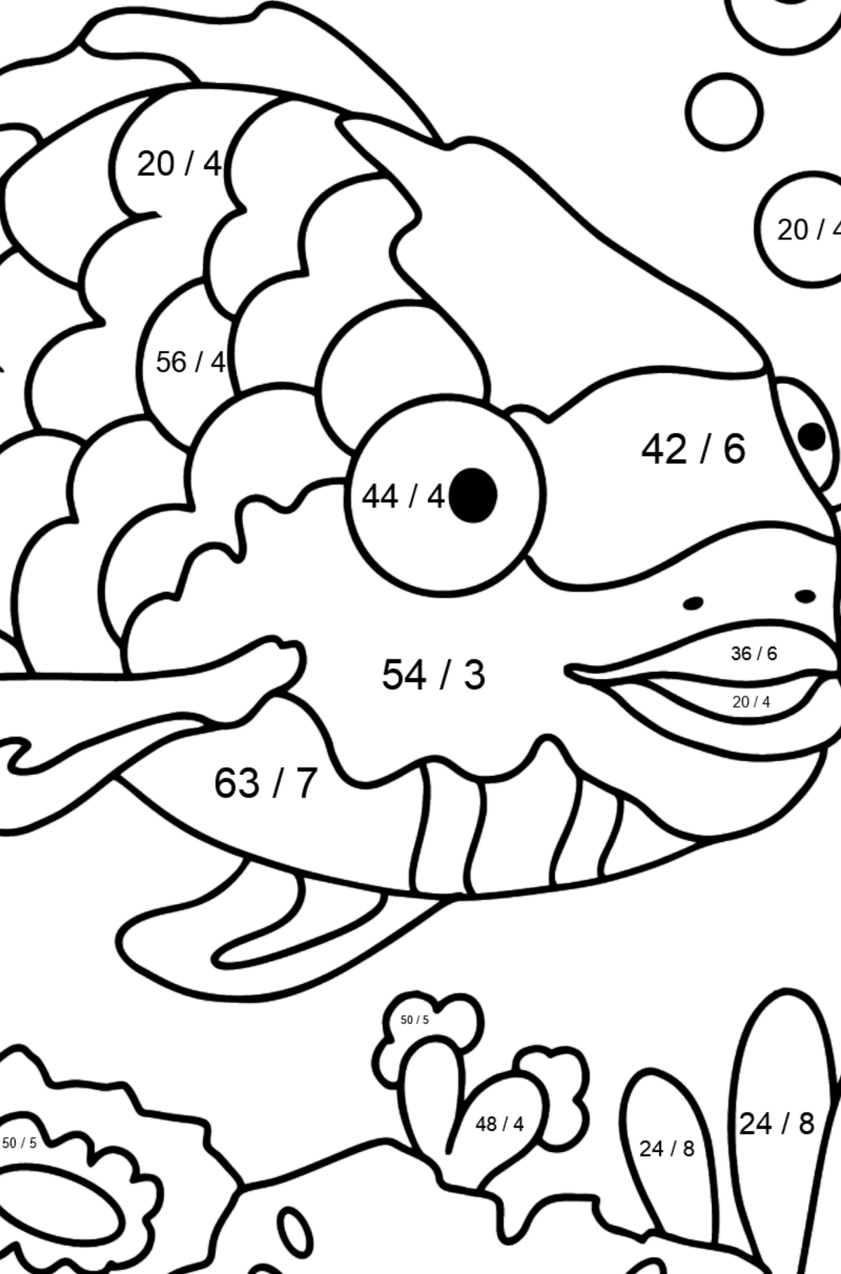 Coloring Page - A Fish with Beautiful Scales - Math Coloring - Division for Kids