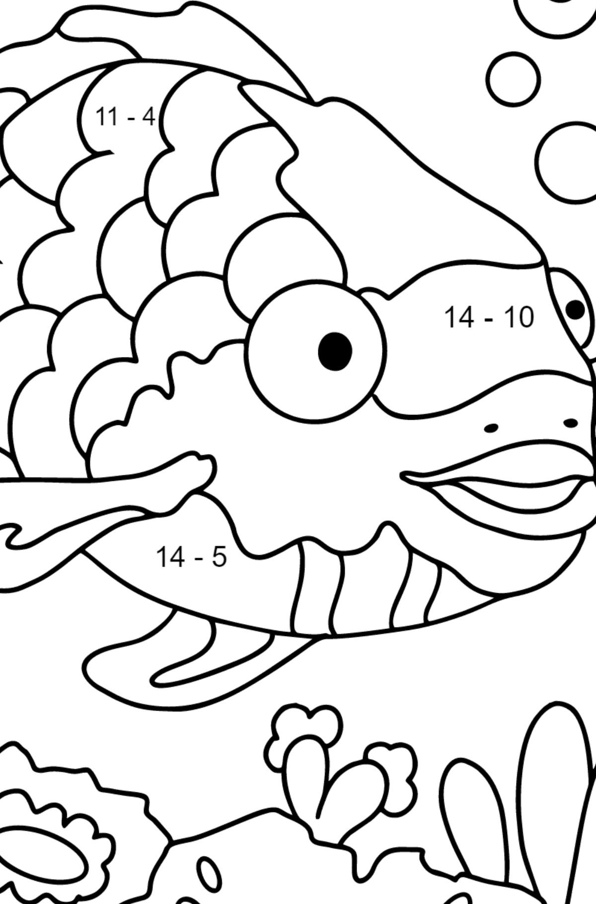 Coloring Page - A Fish with Multicolored Scales - Math Coloring - Subtraction for Children