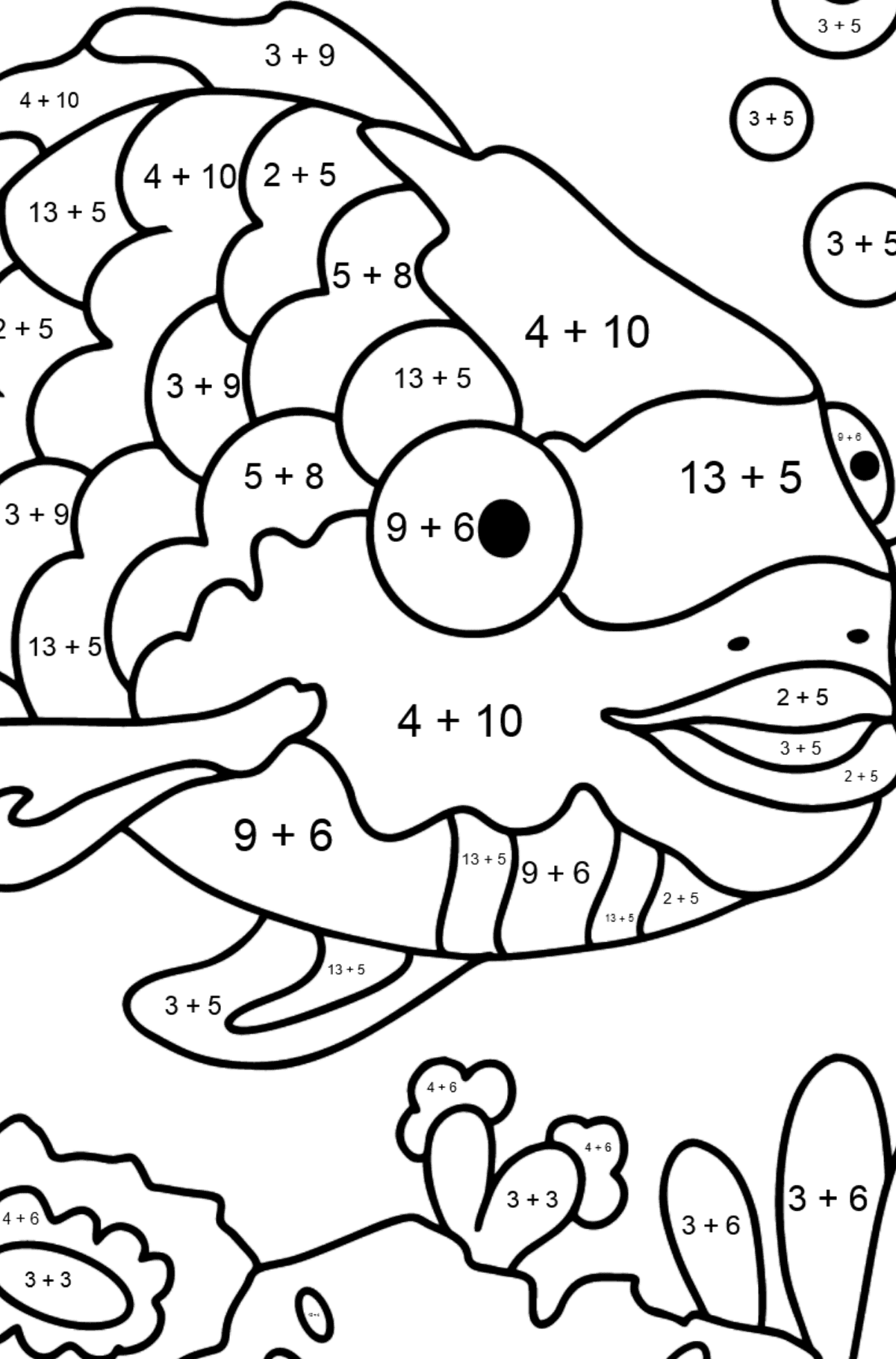 Coloring Page - An Exotic or Rainbow fish - Math Coloring - Addition for Kids