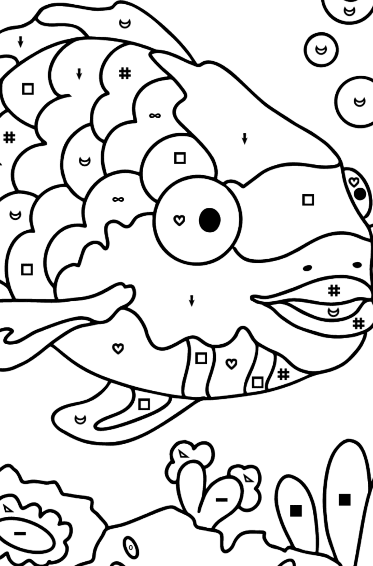 Coloring Page - An Exotic or Rainbow fish - Coloring by Symbols and Geometric Shapes for Kids