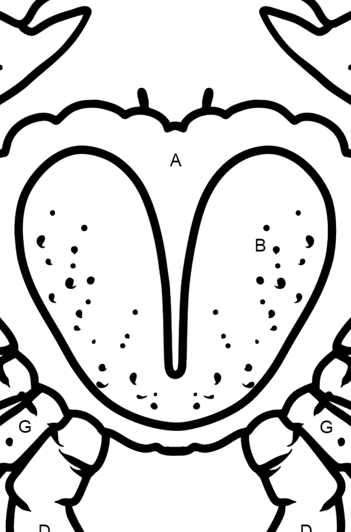 Crab coloring page - Coloring by Letters for Kids