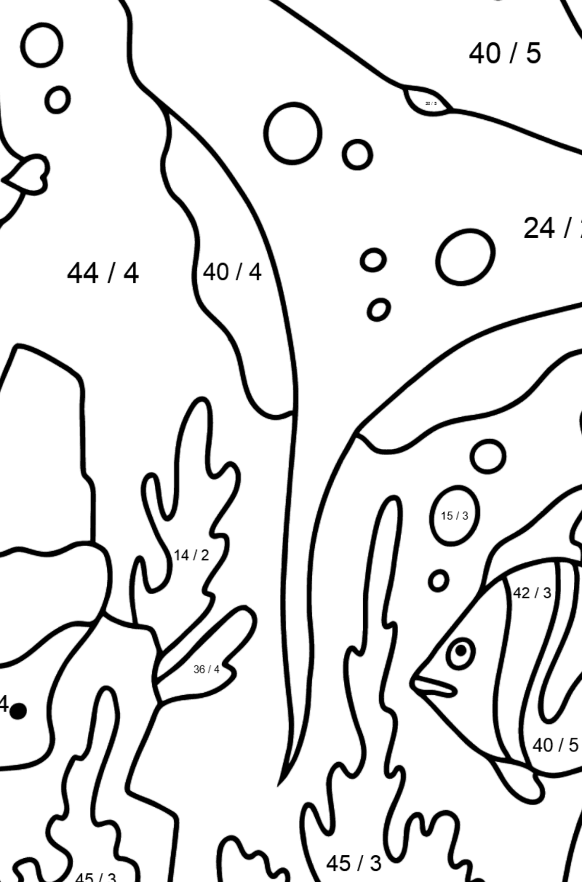 Coloring Page - Fish and Ray are Playing - Math Coloring - Division for Kids