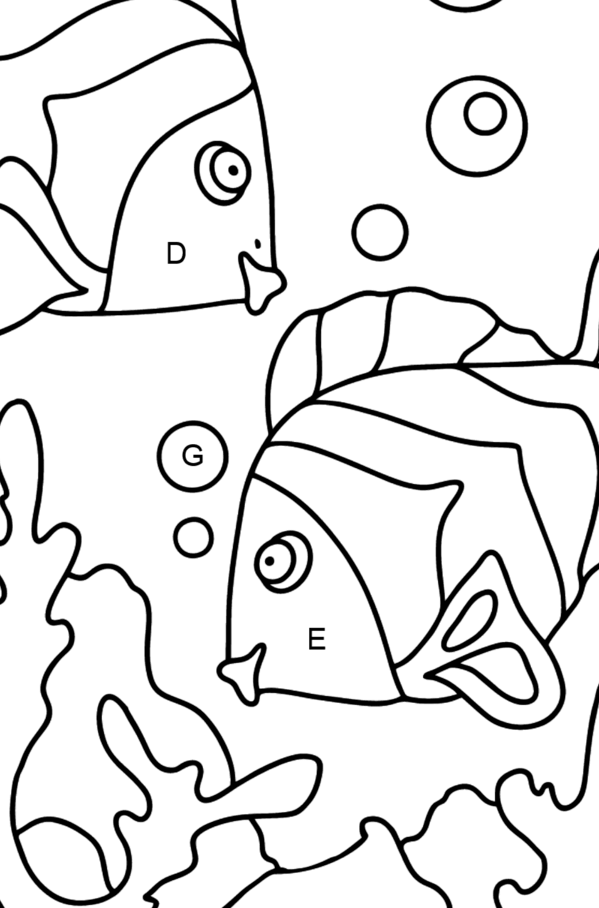 Coloring Page - Fish are Playing Happily - Coloring by Letters for Kids